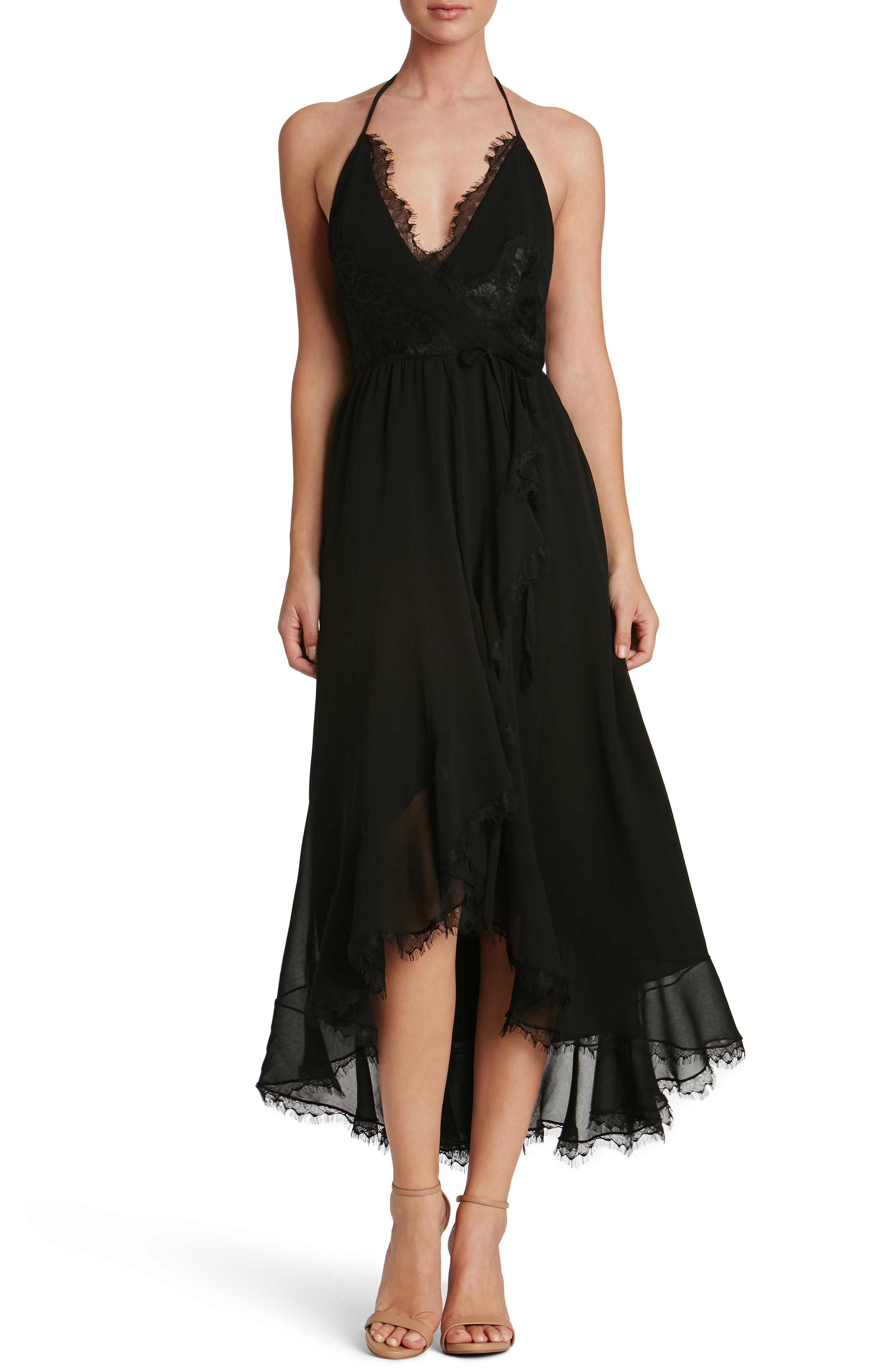 DRESS THE POPULATION Gia Backless Chiffon Wrap Dress, Main, color, 001