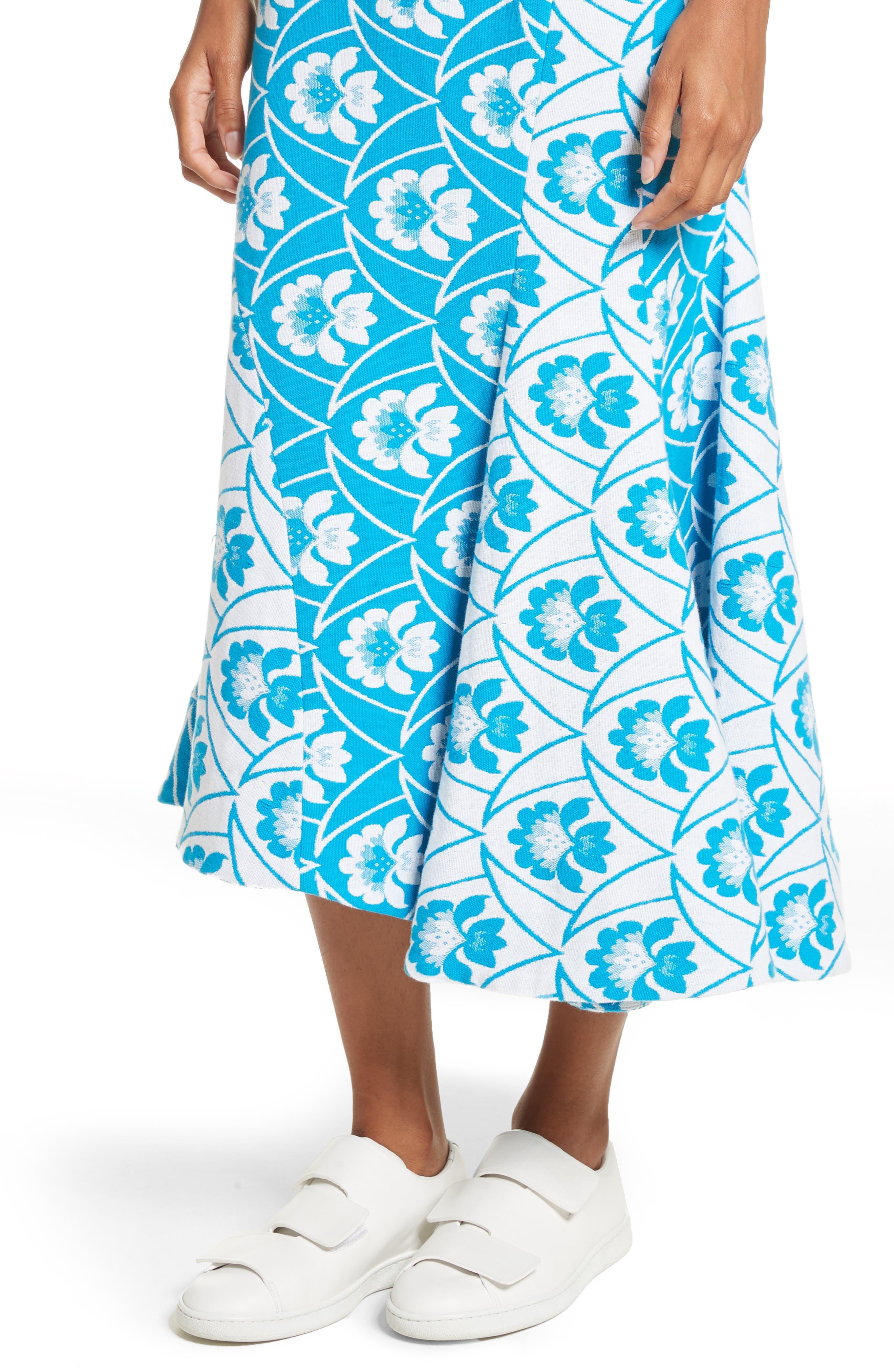 Twist Seam Flare Hem Skirt,                             Alternate thumbnail 4, color,                             460