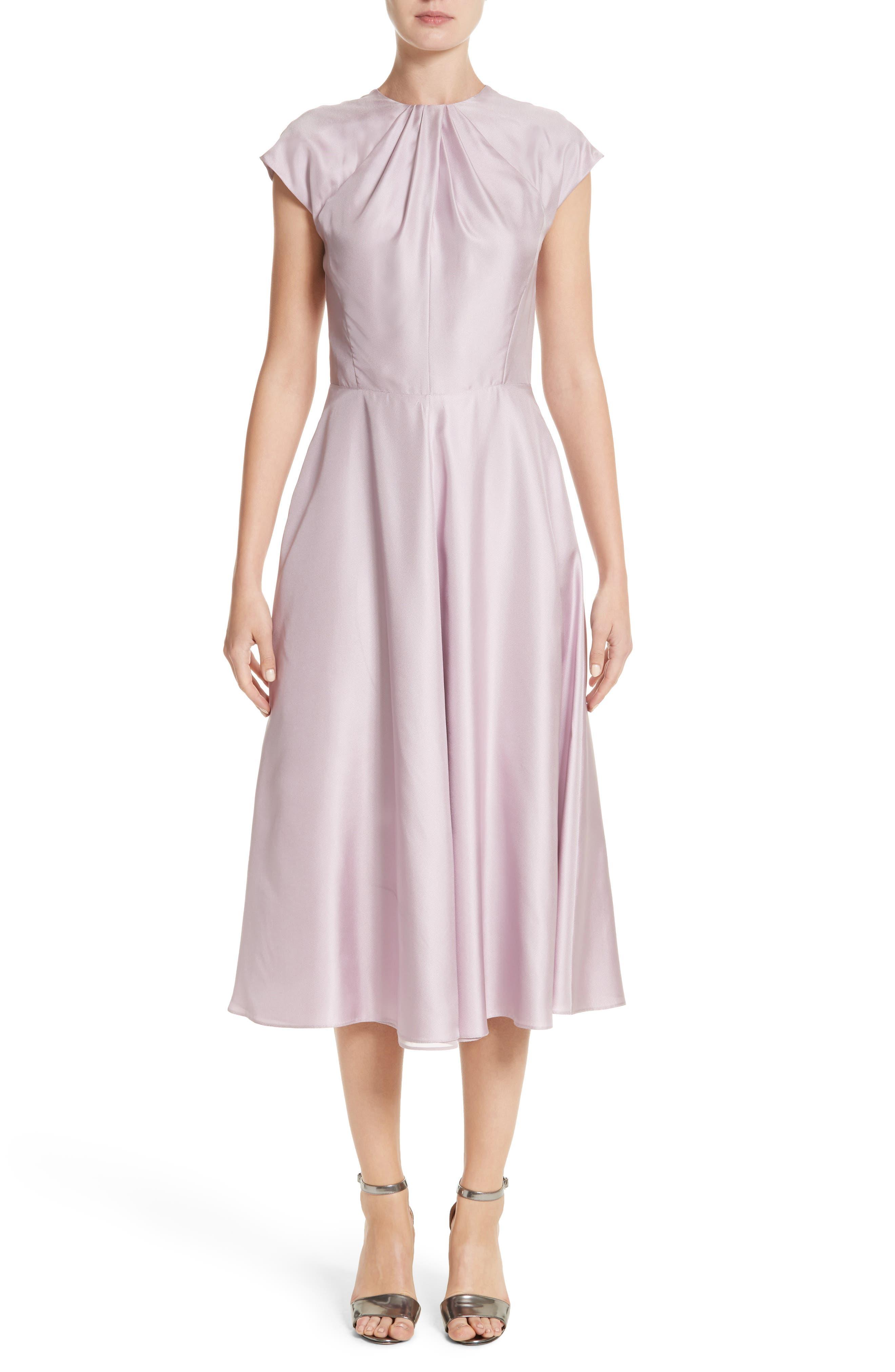 Gather Neck Silk A-Line Dress,                             Main thumbnail 1, color,                             664