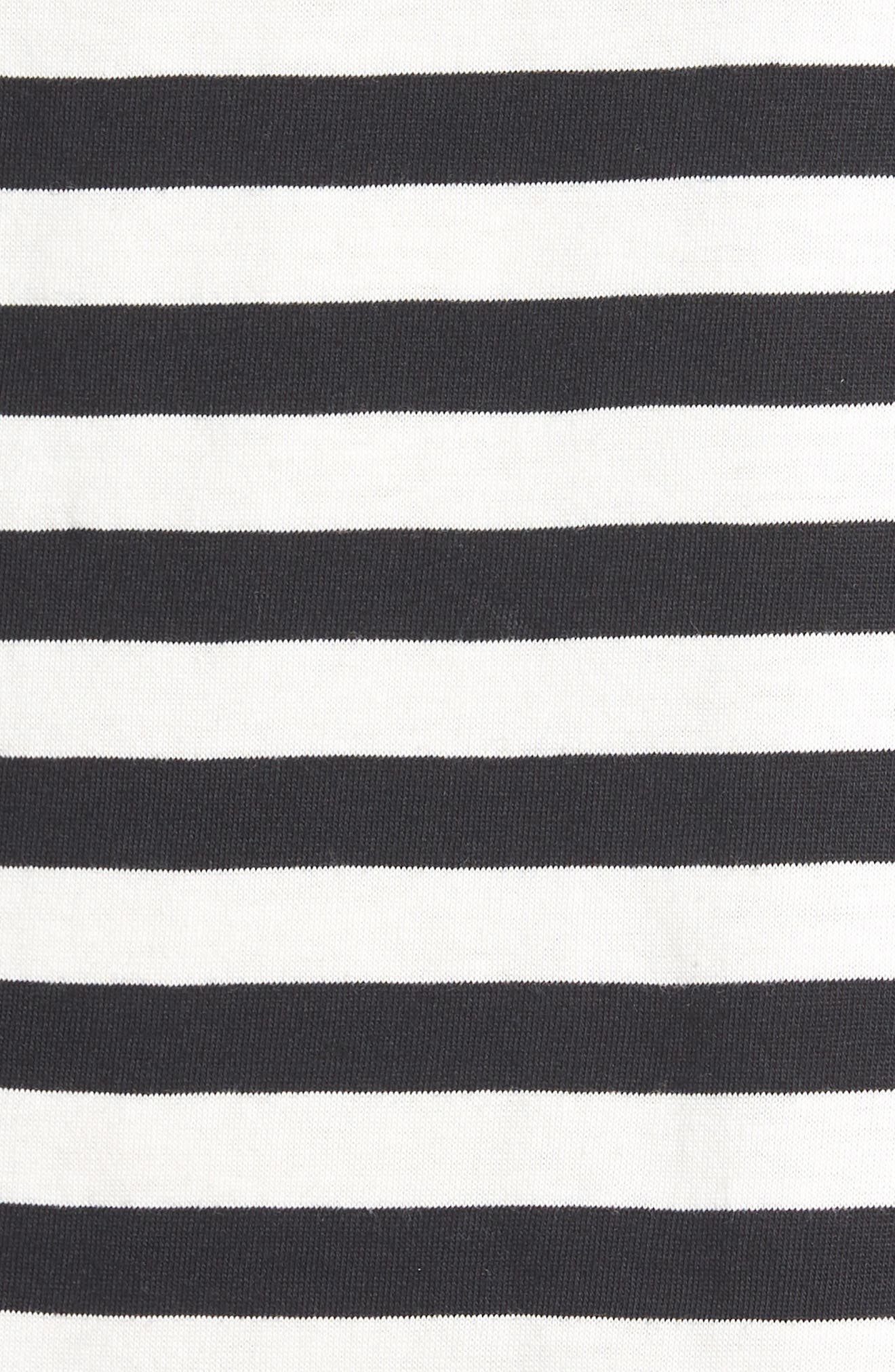 Flutter Sleeve Tee,                             Alternate thumbnail 7, color,                             BLACK/ WHITE STRIPE