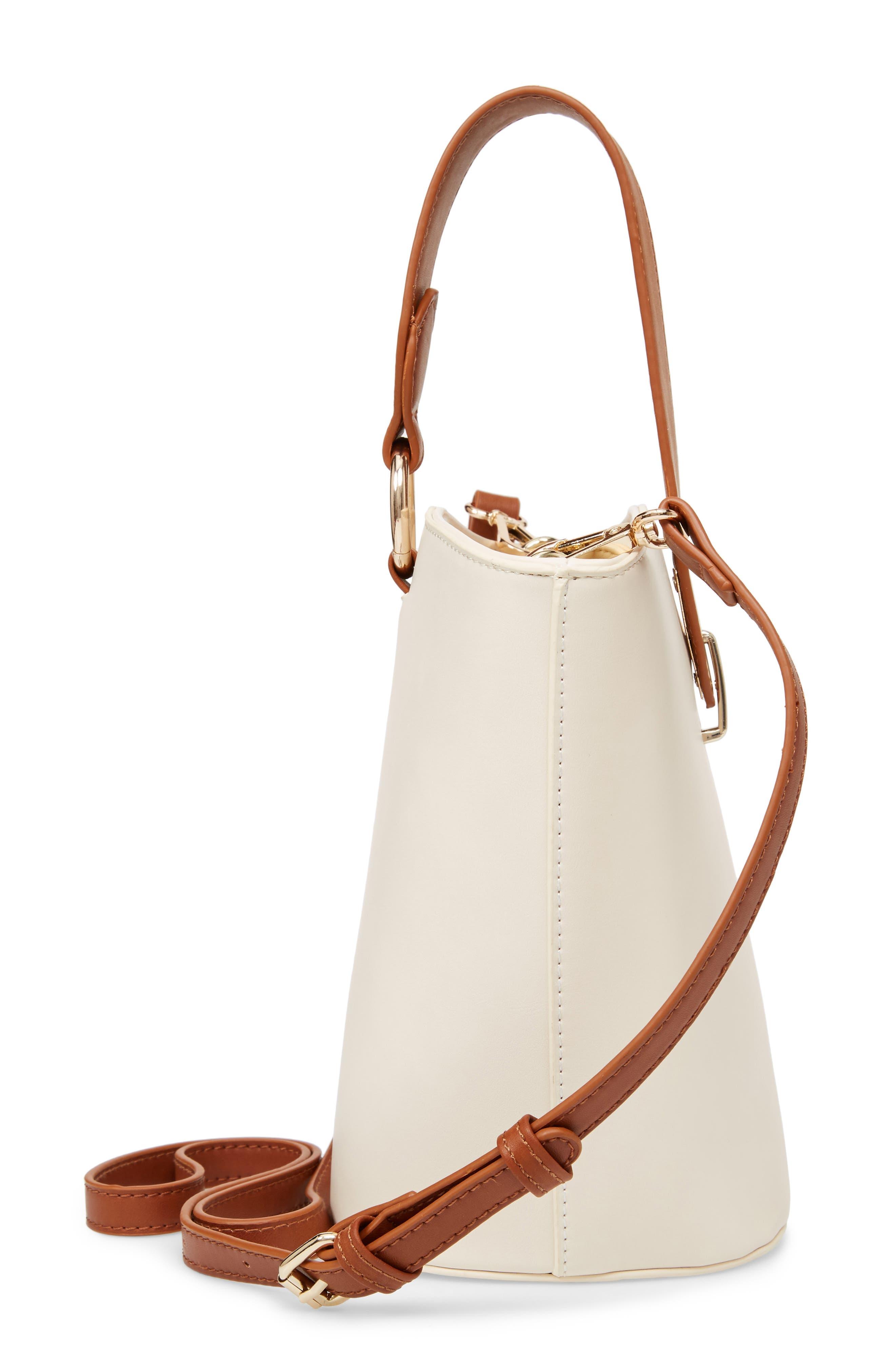 Top Handle Bucket Bag,                             Alternate thumbnail 5, color,                             IVORY