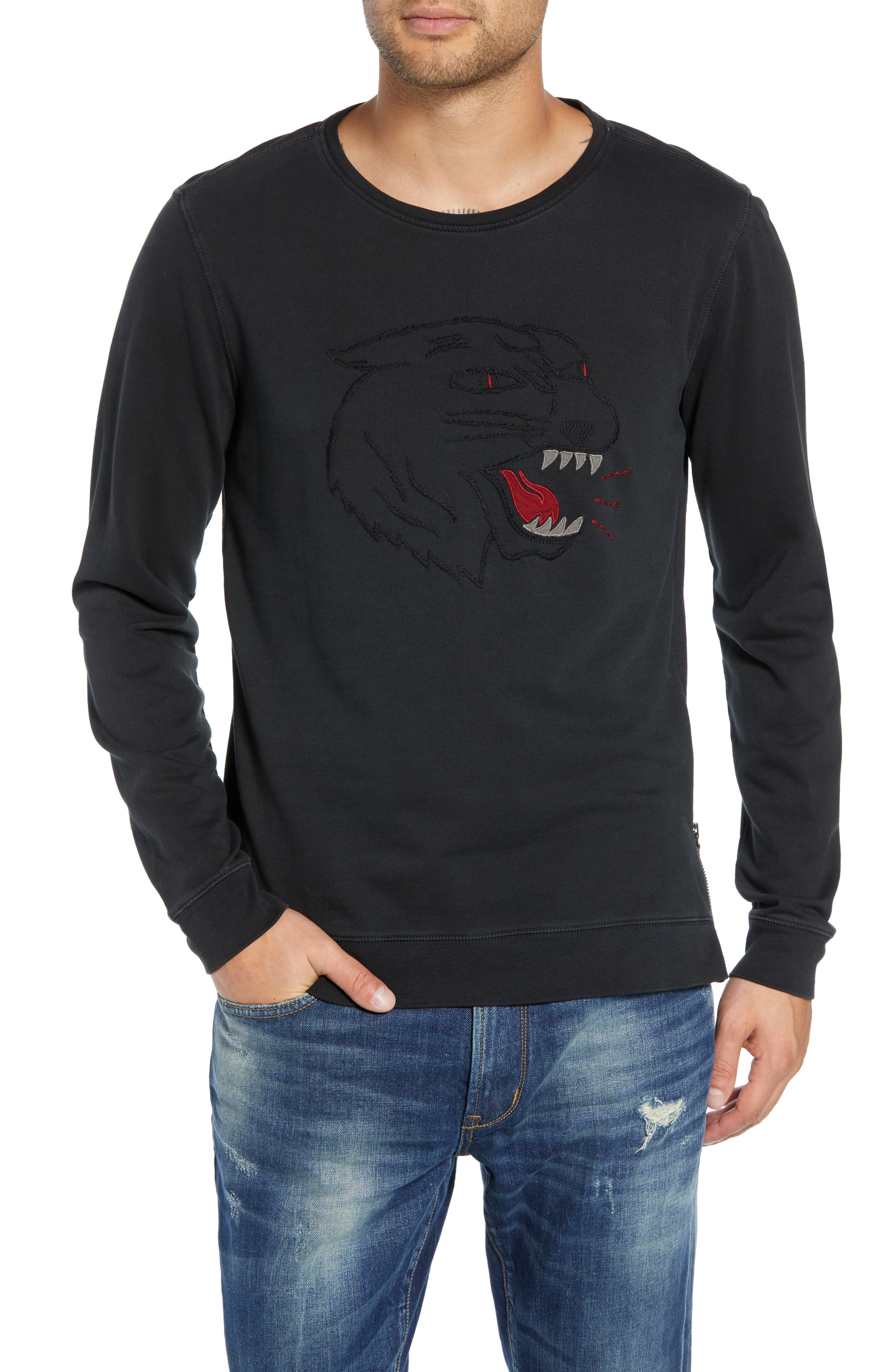 Cat Eyes Embroidered Sweatshirt, Main, color, 001