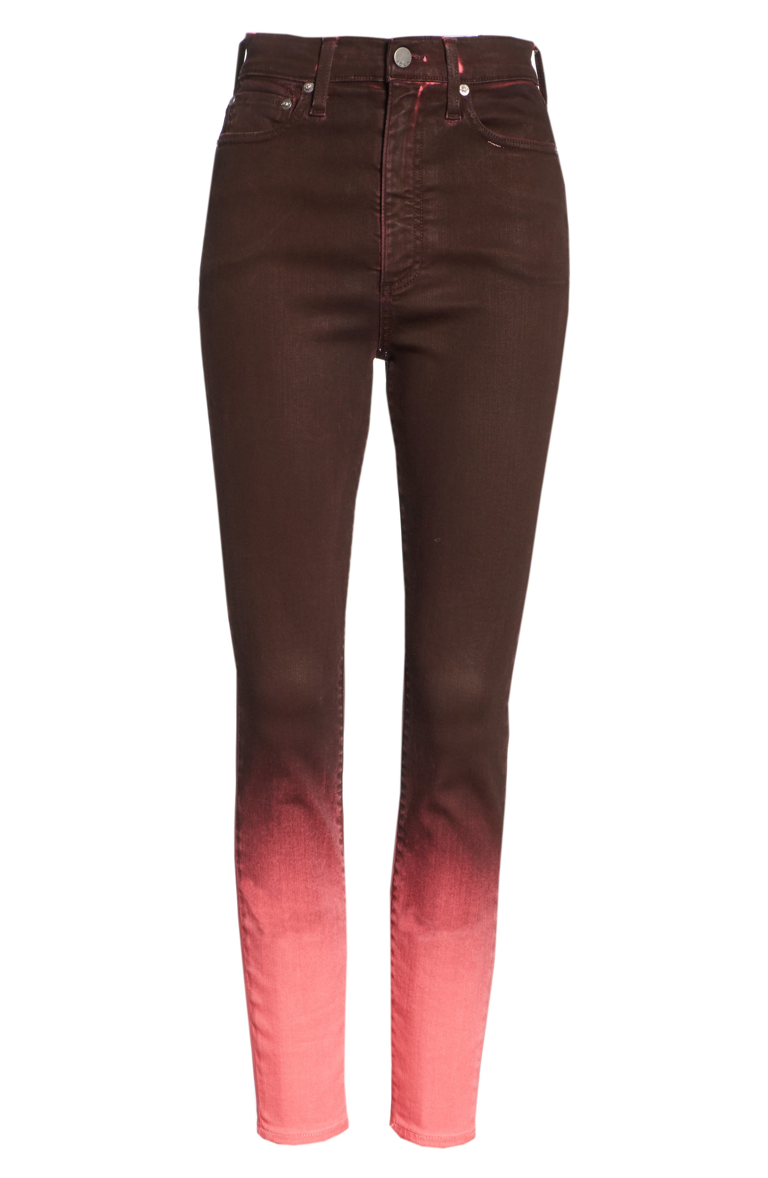 AO.LA Good High Waist Ankle Skinny Jeans,                             Alternate thumbnail 6, color,                             WINE/ BUBBLEGUM