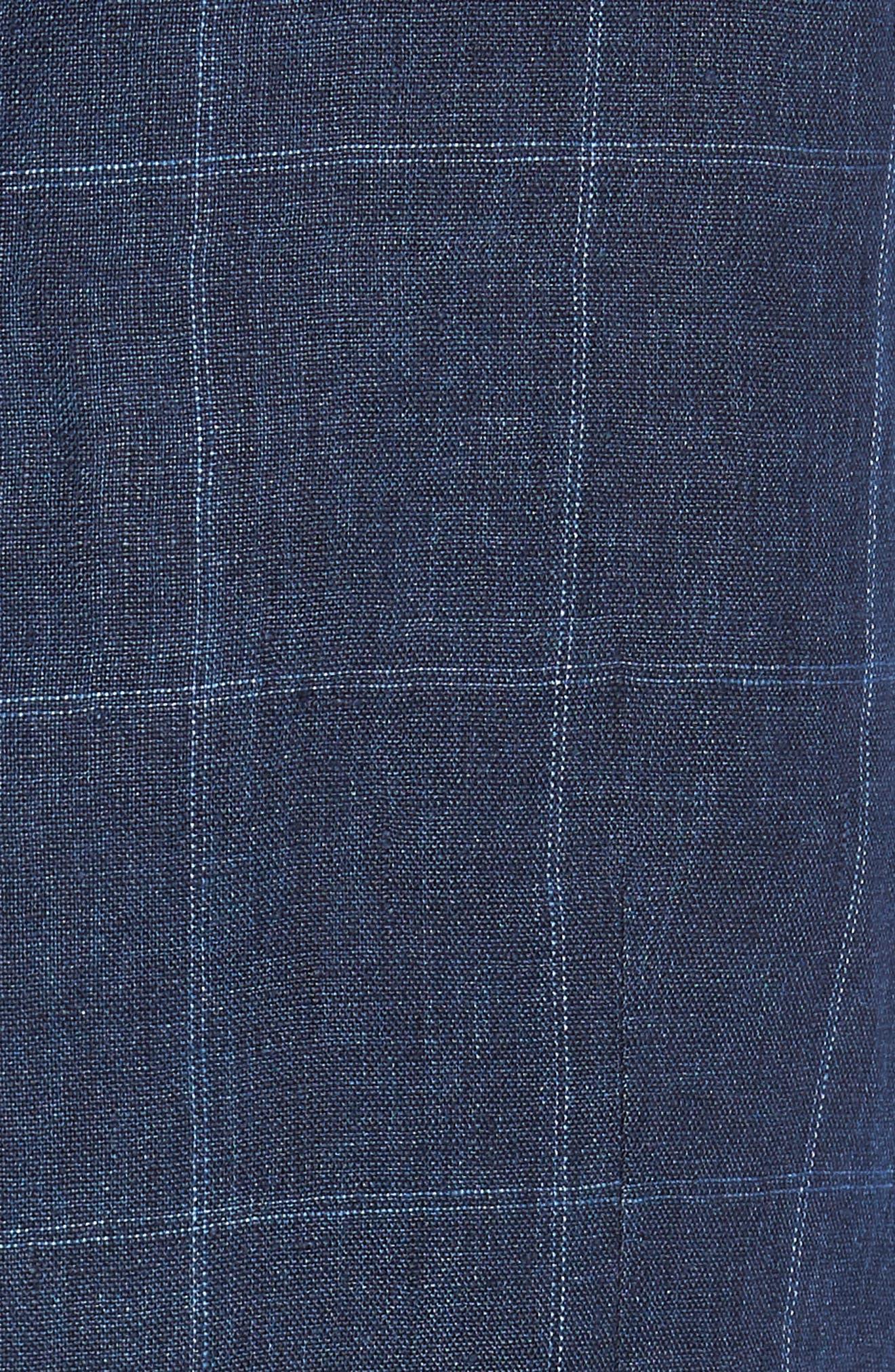 Stag Trim Fit Windowpane Linen Vest,                             Alternate thumbnail 6, color,                             400