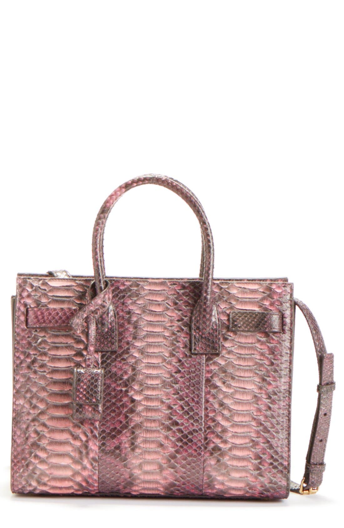 'Baby Sac de Jour' Genuine Python Tote,                             Main thumbnail 1, color,                             ROSE/BROWN/GREY