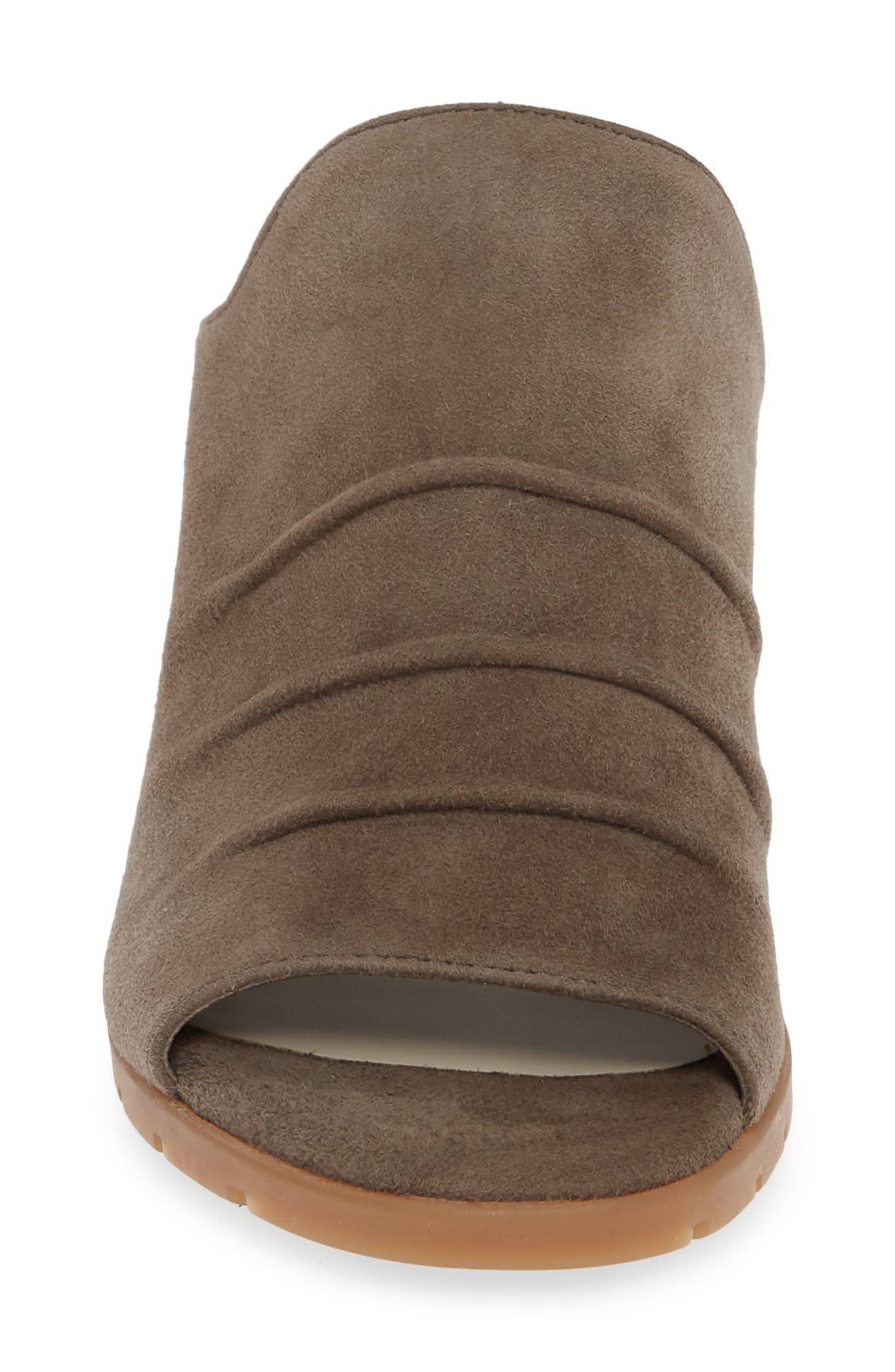 Aim to Pleat Mule,                             Alternate thumbnail 4, color,                             BROWN LEATHER