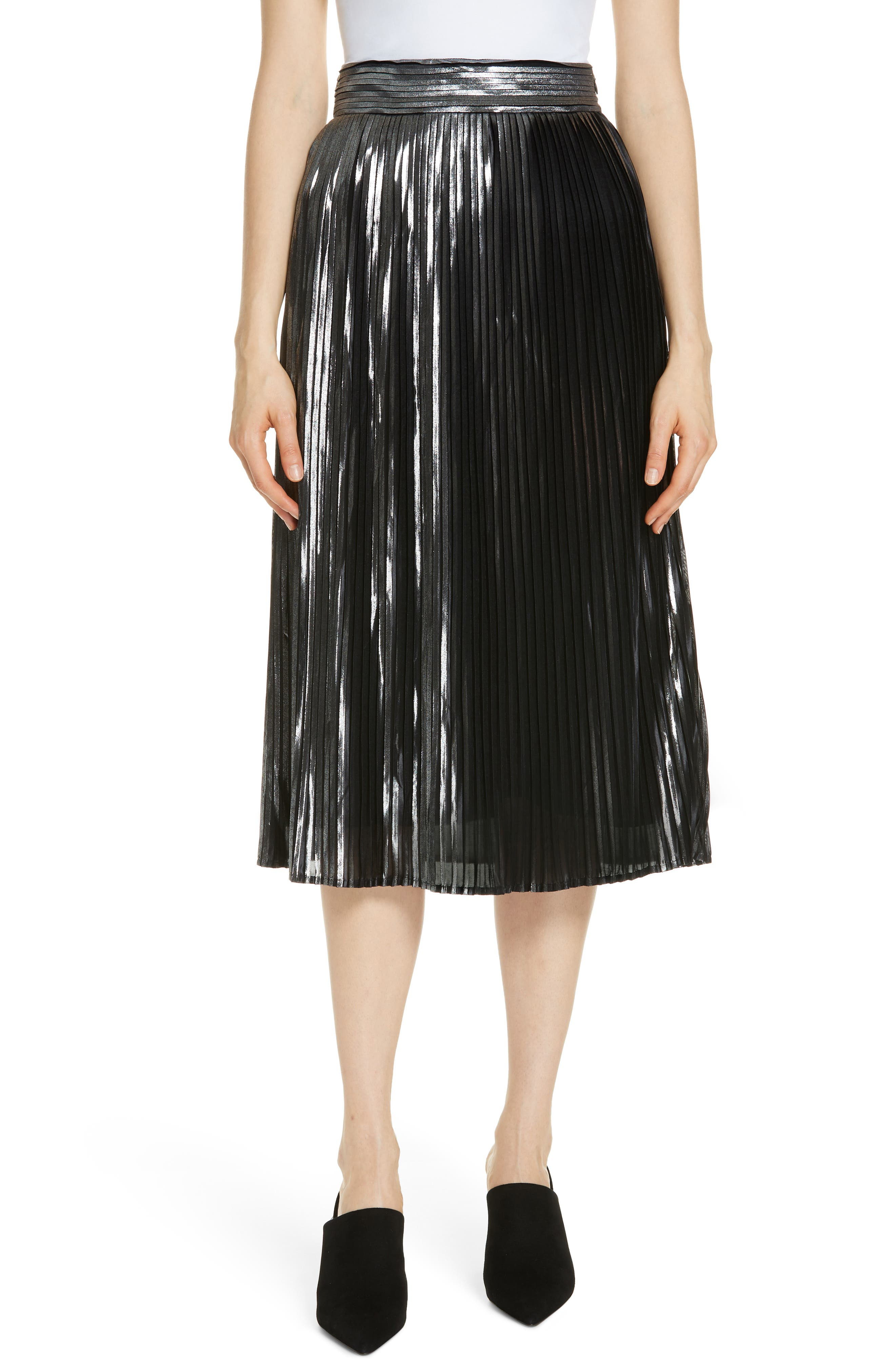 Palace Micropleat Metallic Skirt,                         Main,                         color, ARGENT