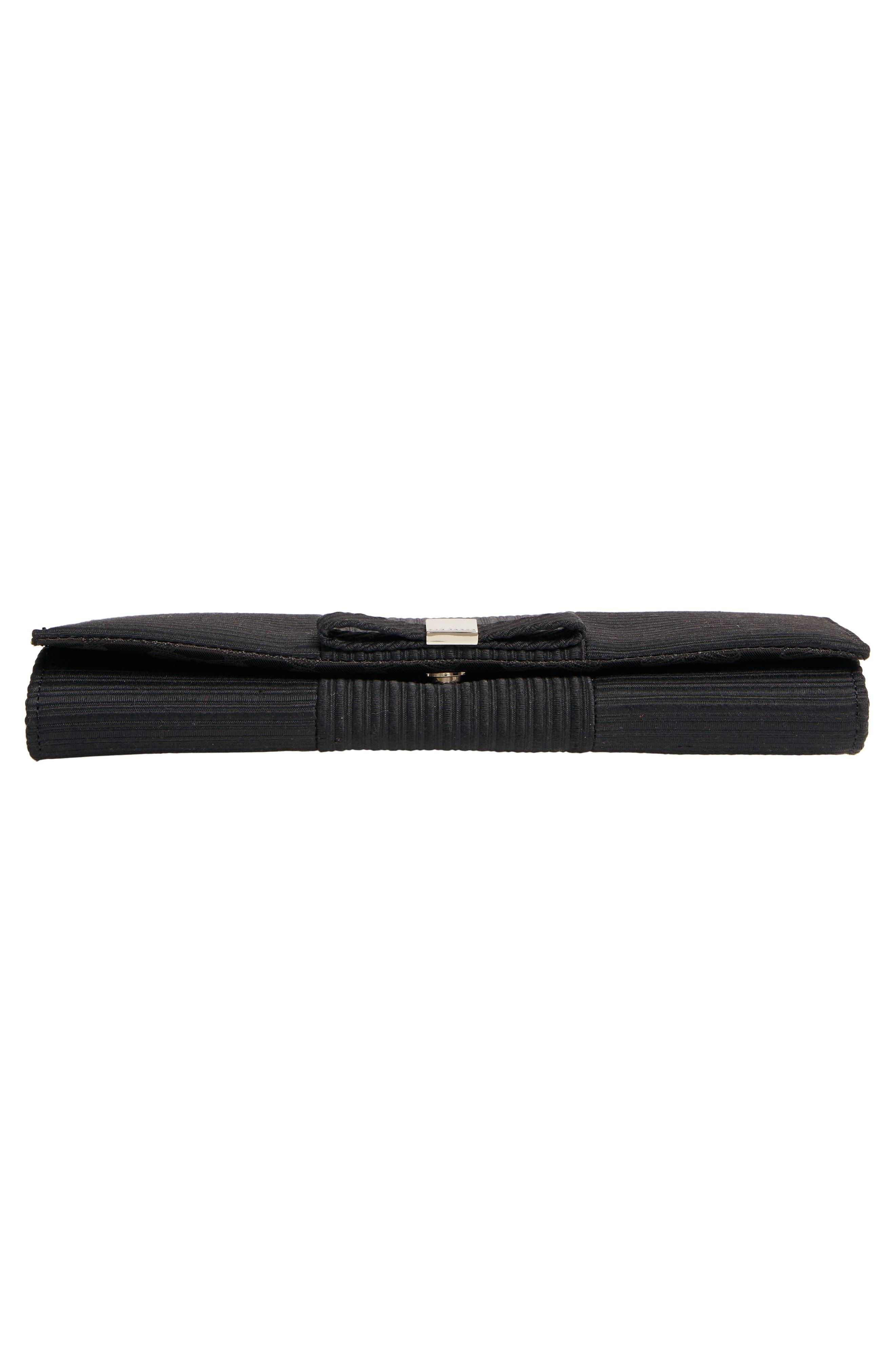 Emilee Bow Evening Bag,                             Alternate thumbnail 6, color,                             BLACK