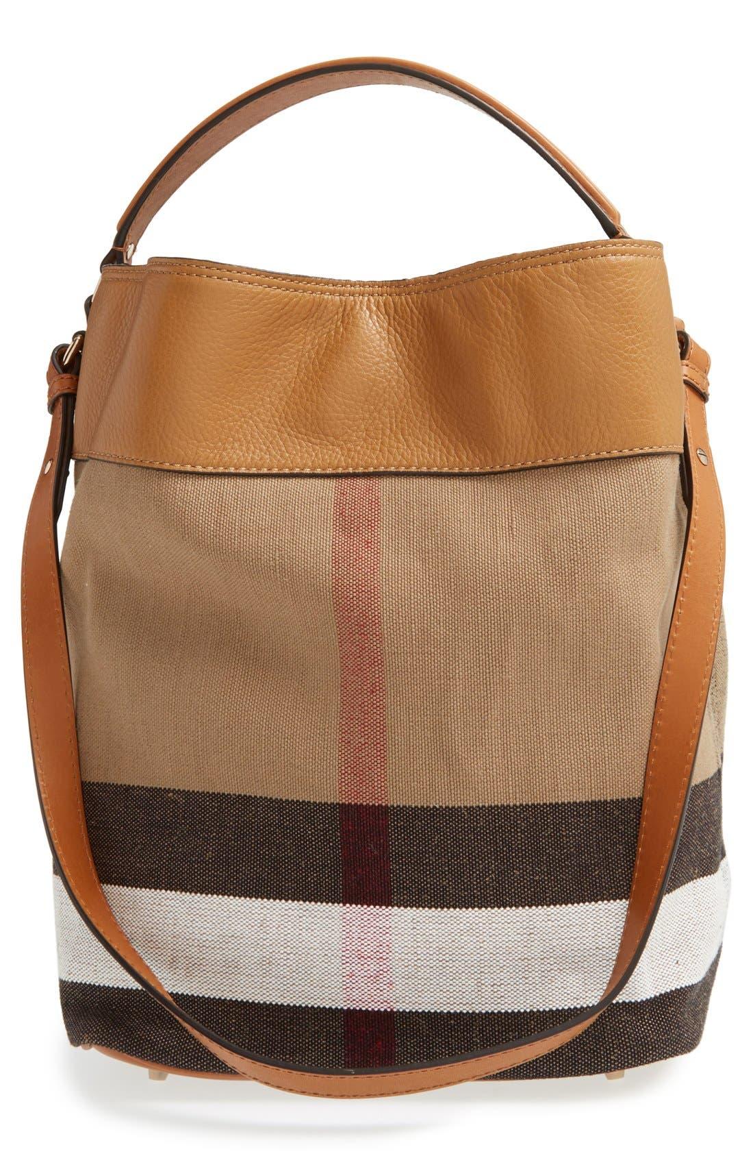 BURBERRY,                             Medium Ashby Bucket Bag,                             Alternate thumbnail 3, color,                             200