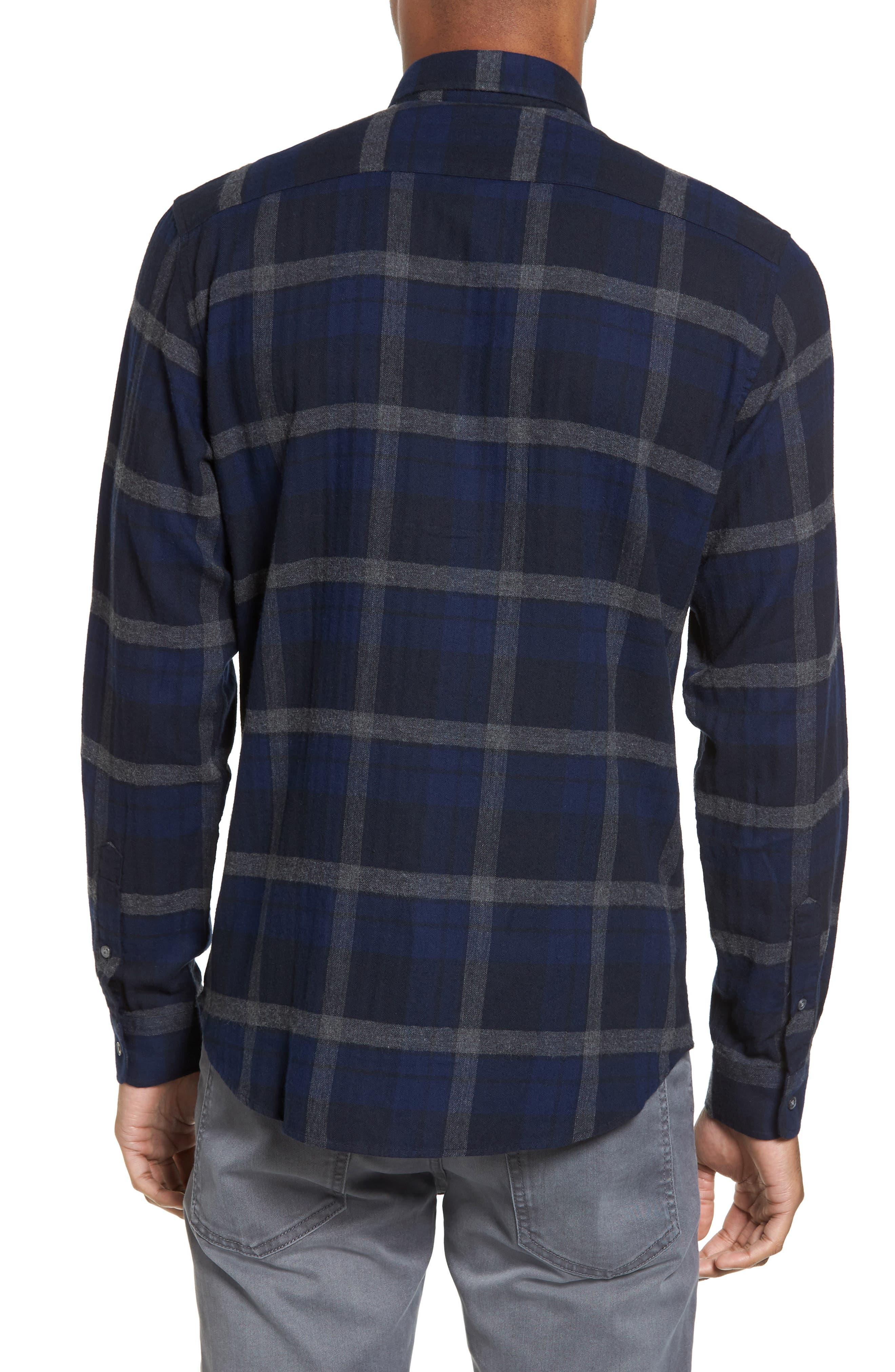 Trim Fit Plaid Flannel Sport Shirt,                             Alternate thumbnail 2, color,                             473