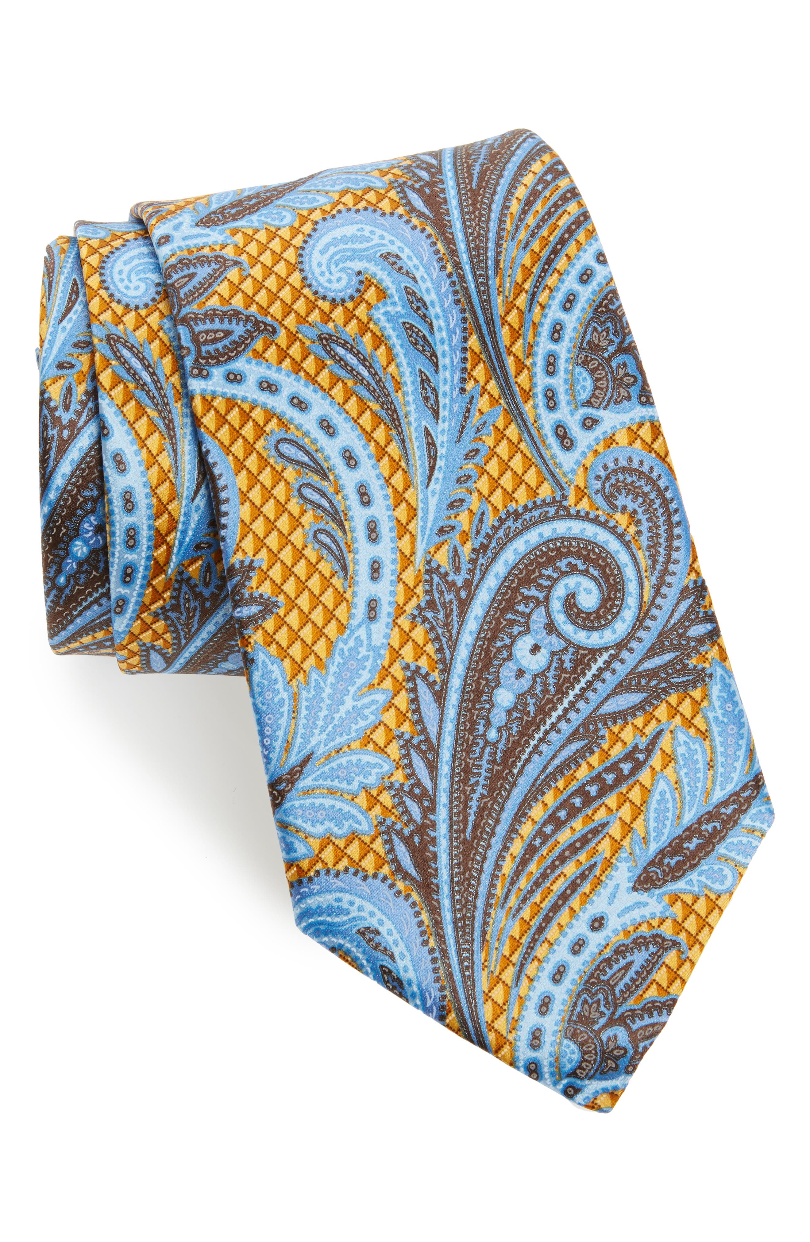Paisley Floral Silk Tie,                             Main thumbnail 1, color,