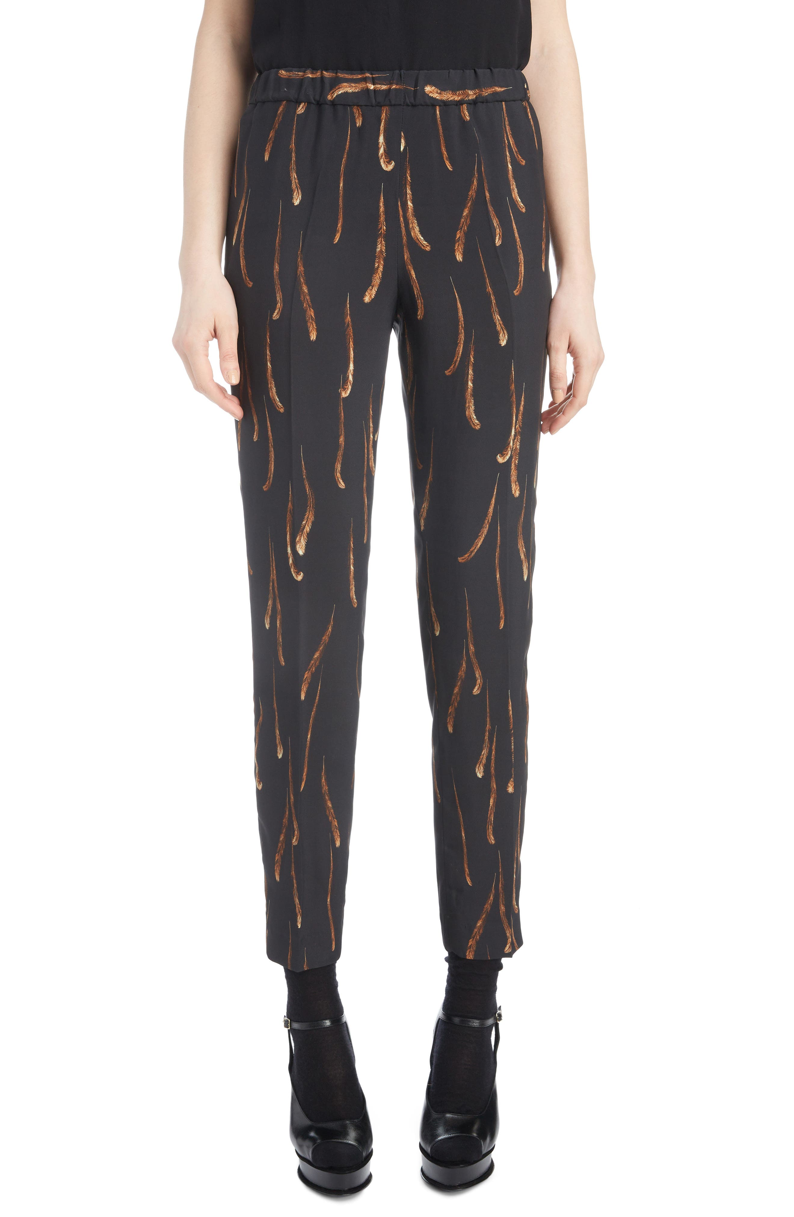 Feather Print Drawstring Crop Pants,                         Main,                         color, BLACK