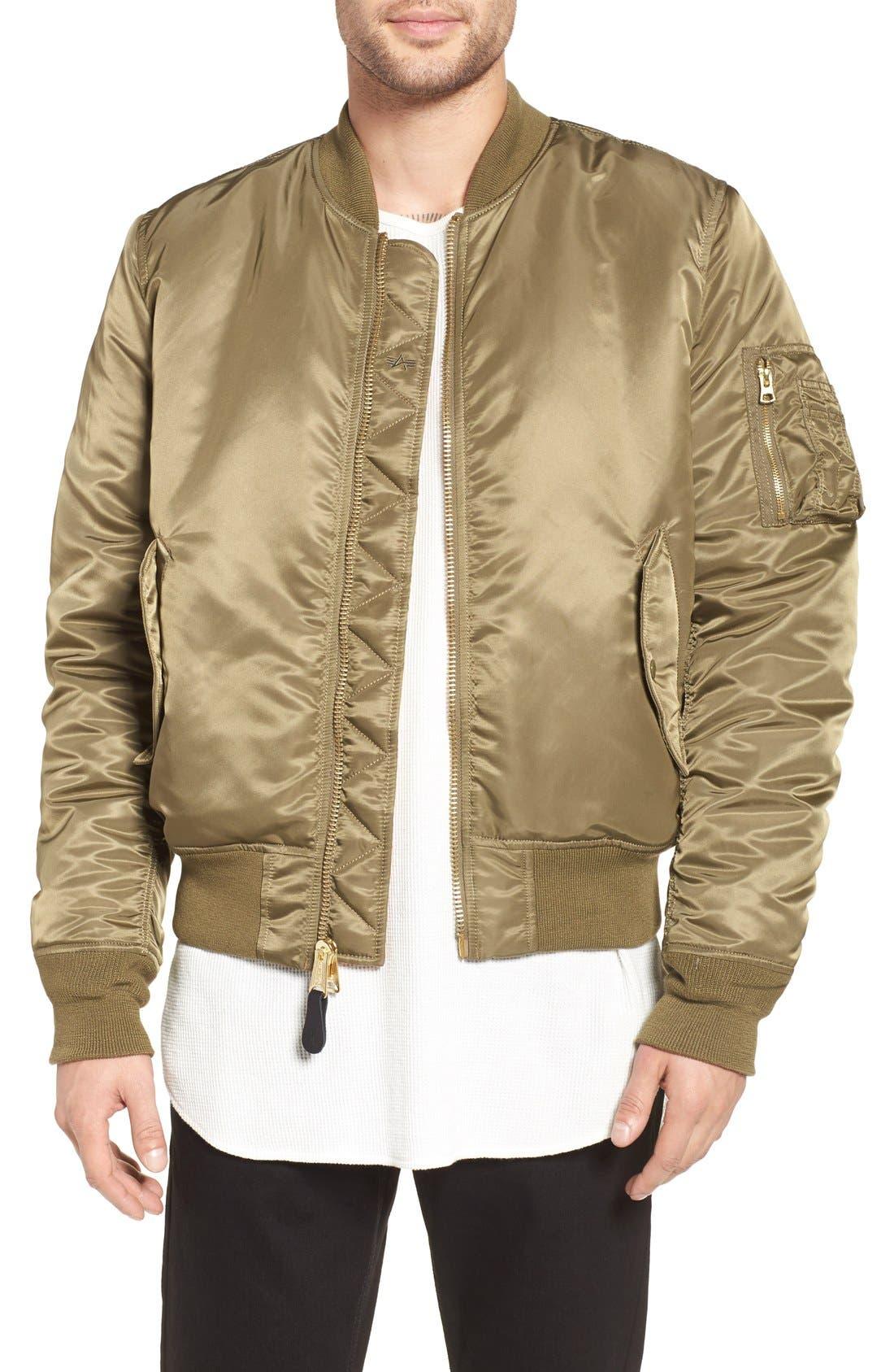 'MA-1' Slim Fit Bomber Jacket,                         Main,                         color, VINTAGE OLIVE