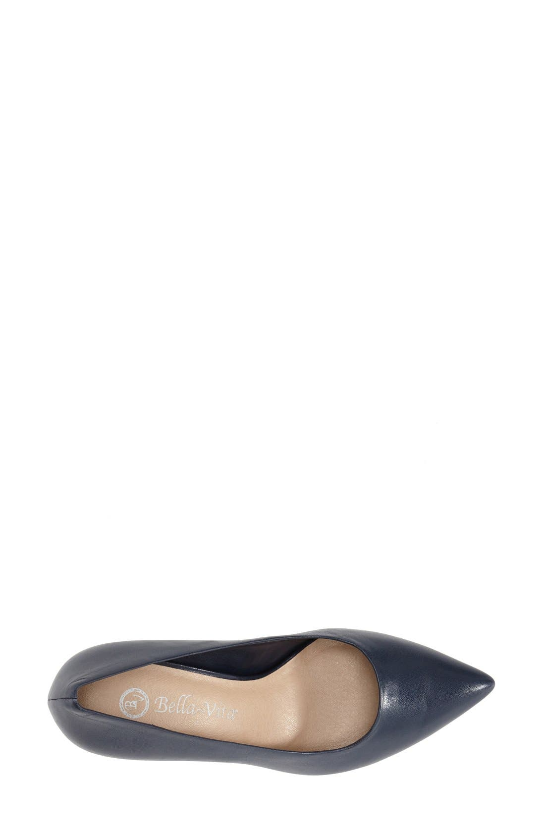 'Define' Pointy Toe Pump,                             Alternate thumbnail 3, color,                             NAVY LEATHER