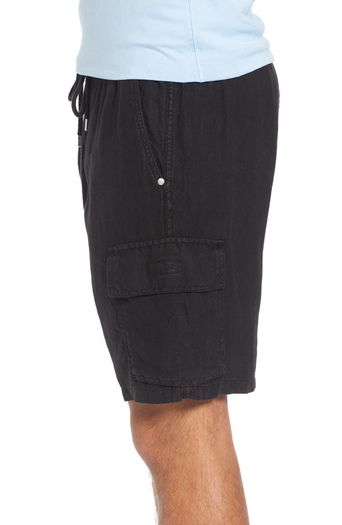 Vilbrequin Linen Cargo Shorts,                             Alternate thumbnail 3, color,                             001