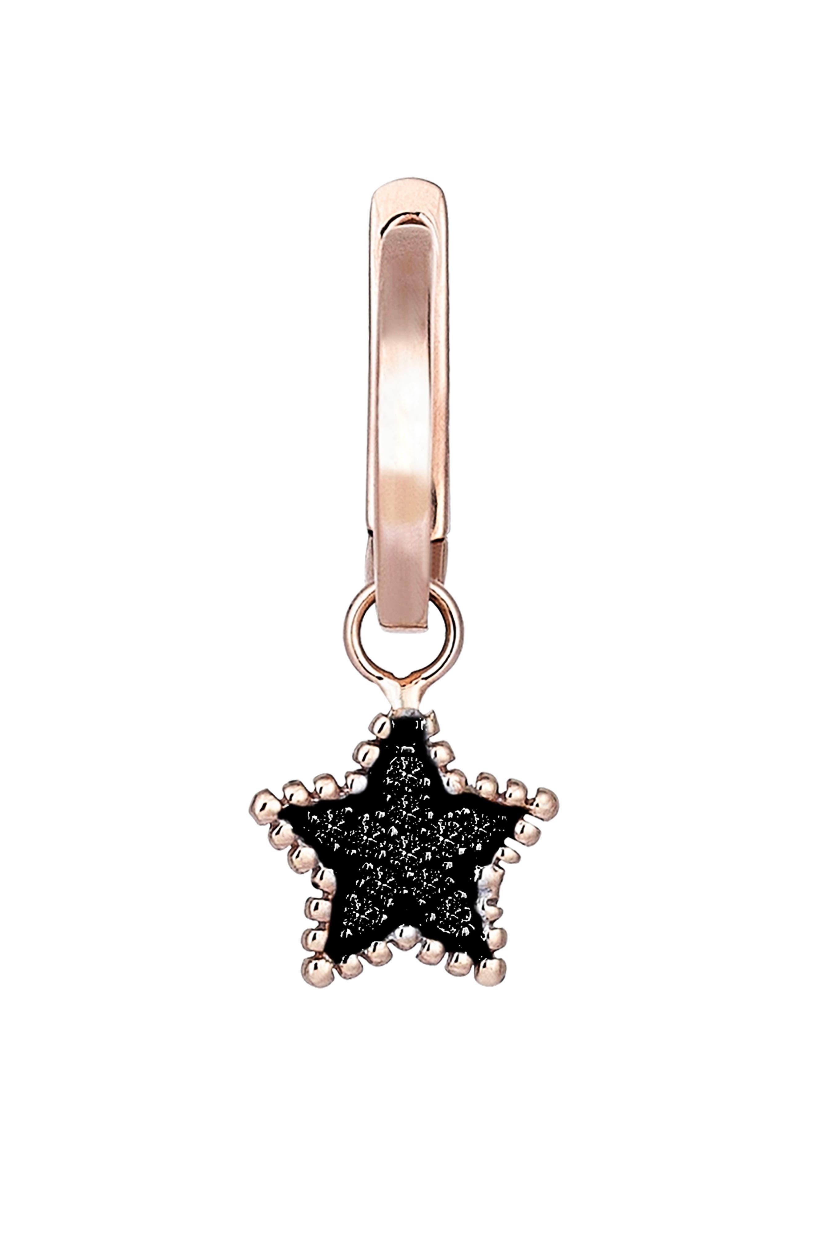 Black Diamond Star Hoop Earring,                             Main thumbnail 1, color,                             ROSE GOLD