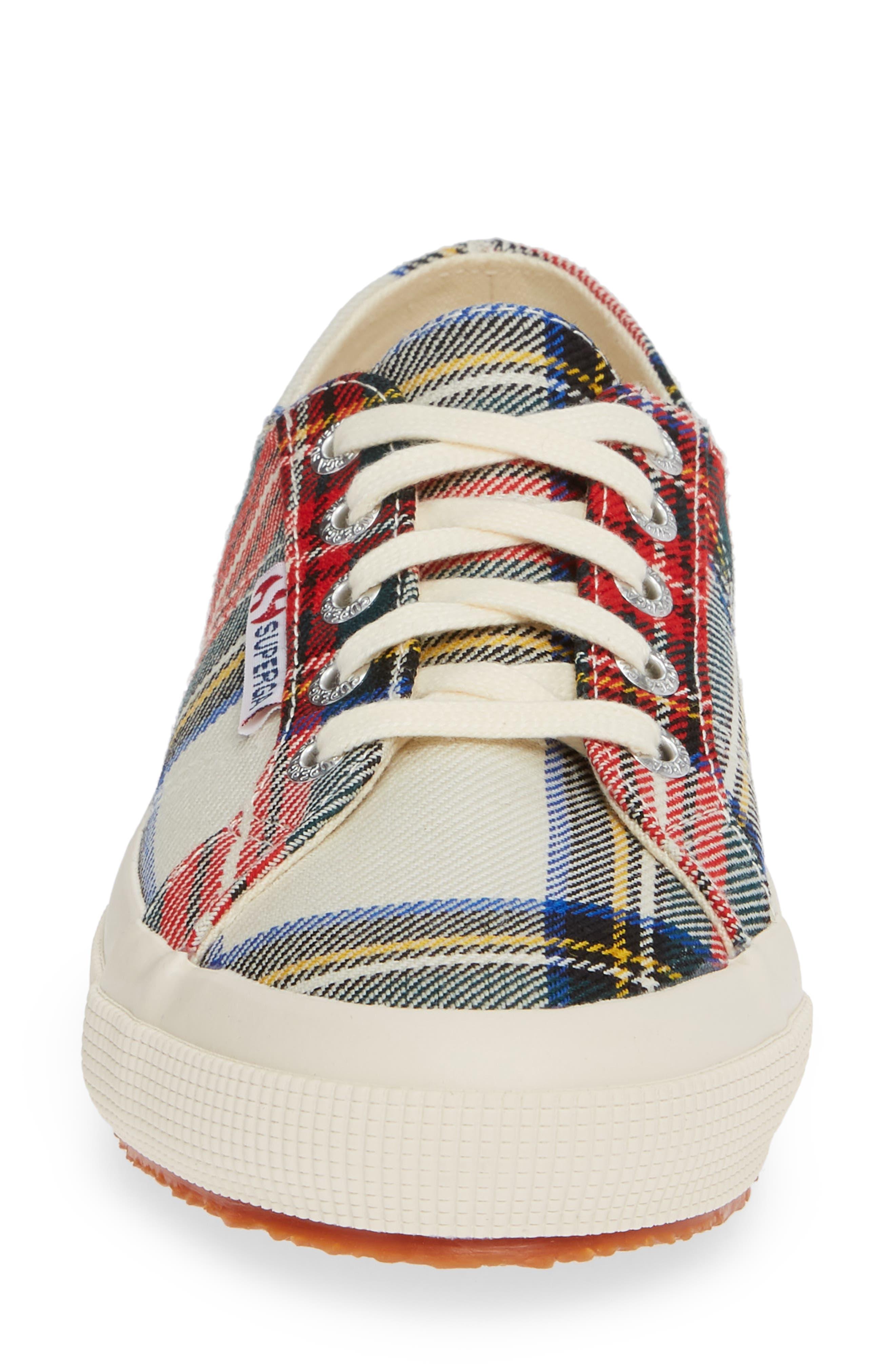 Tartan Print Sneaker,                             Alternate thumbnail 4, color,                             RED MULTI