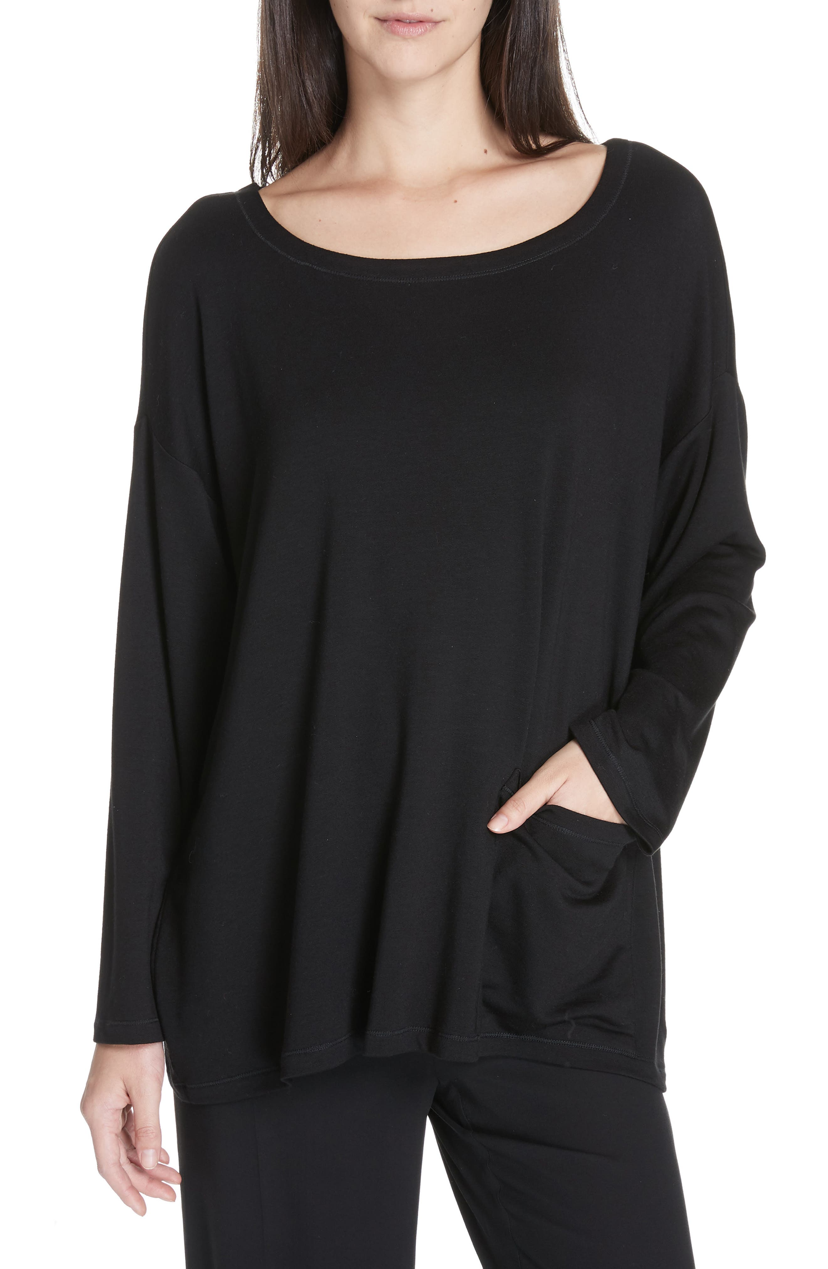 EILEEN FISHER, Stretch Terry Top, Main thumbnail 1, color, BLACK
