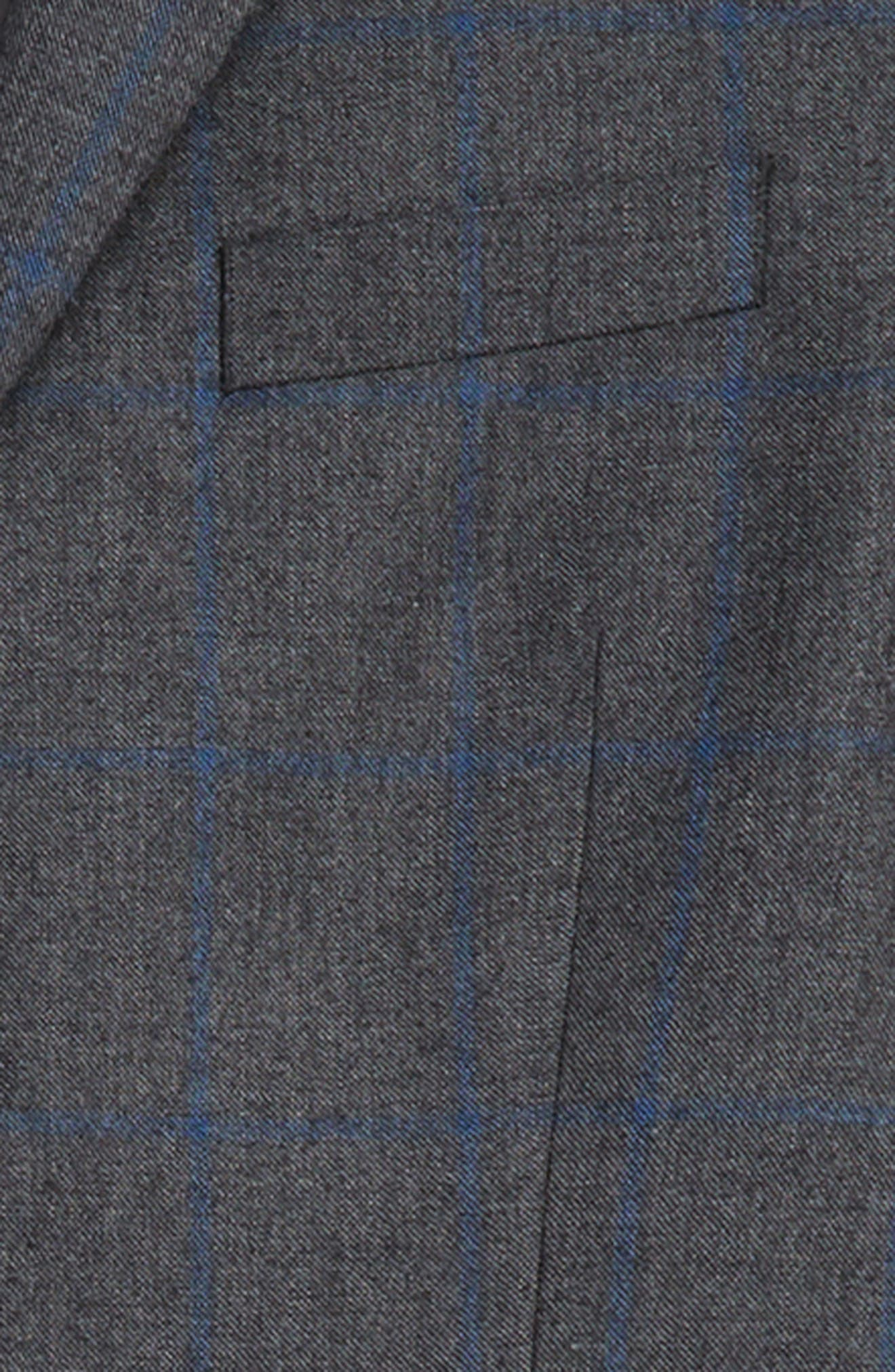 Windowpane Check Wool Suit,                             Alternate thumbnail 2, color,                             GREY/ BLUE