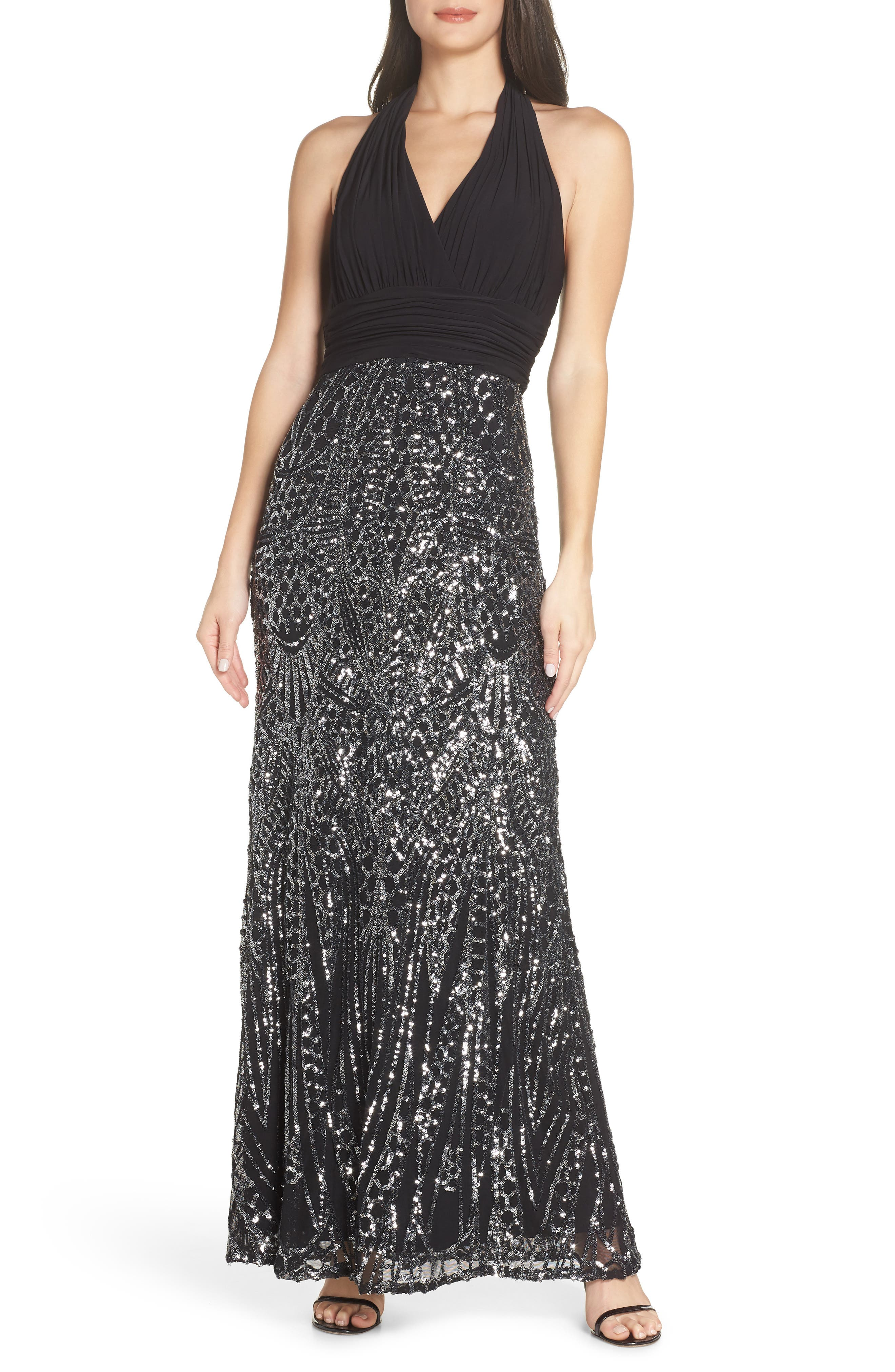 Morgan & Co. Ruched Halter Bodice Gown, Black