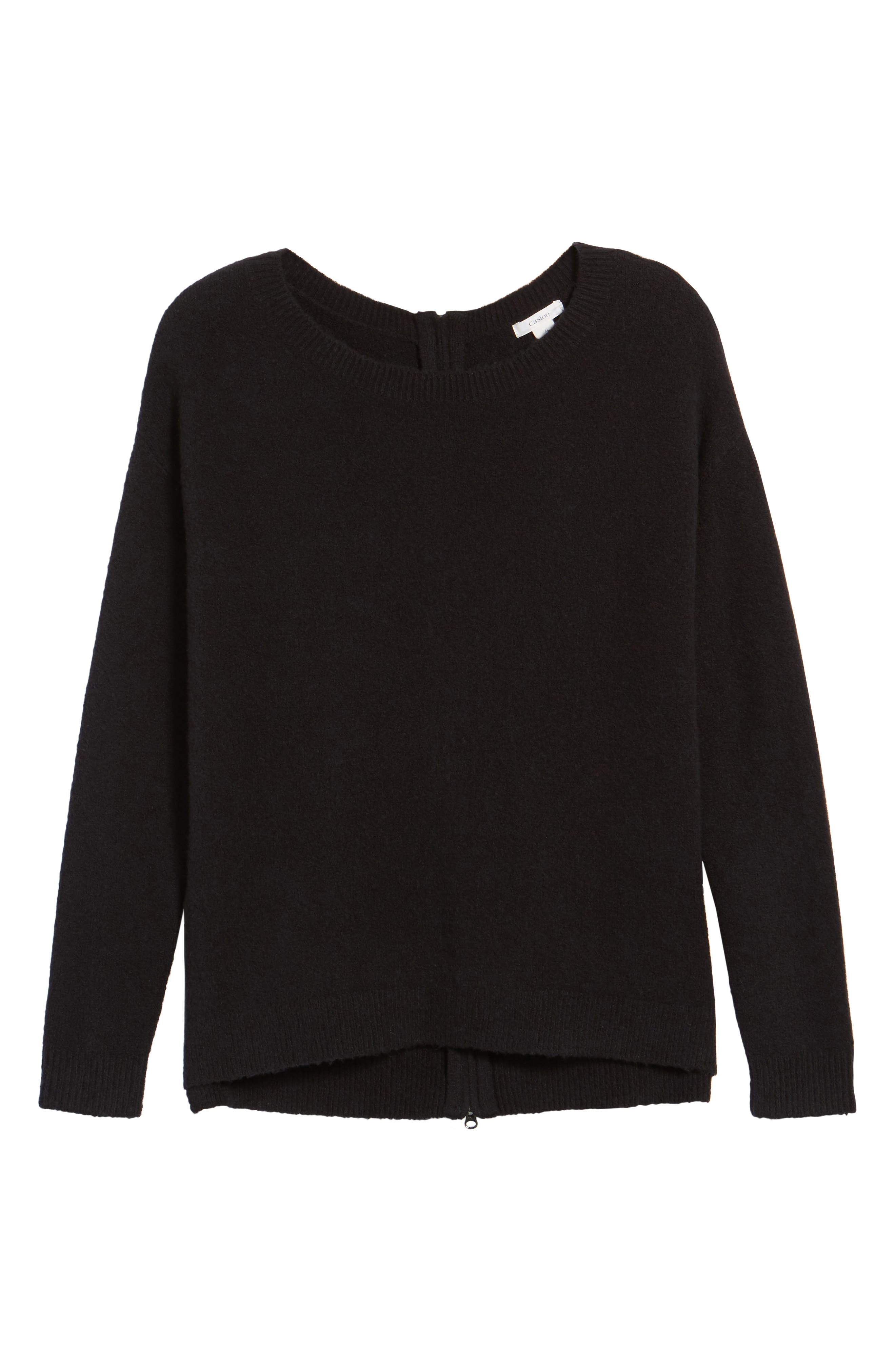 Back Zip High/Low Sweater,                             Alternate thumbnail 6, color,                             001