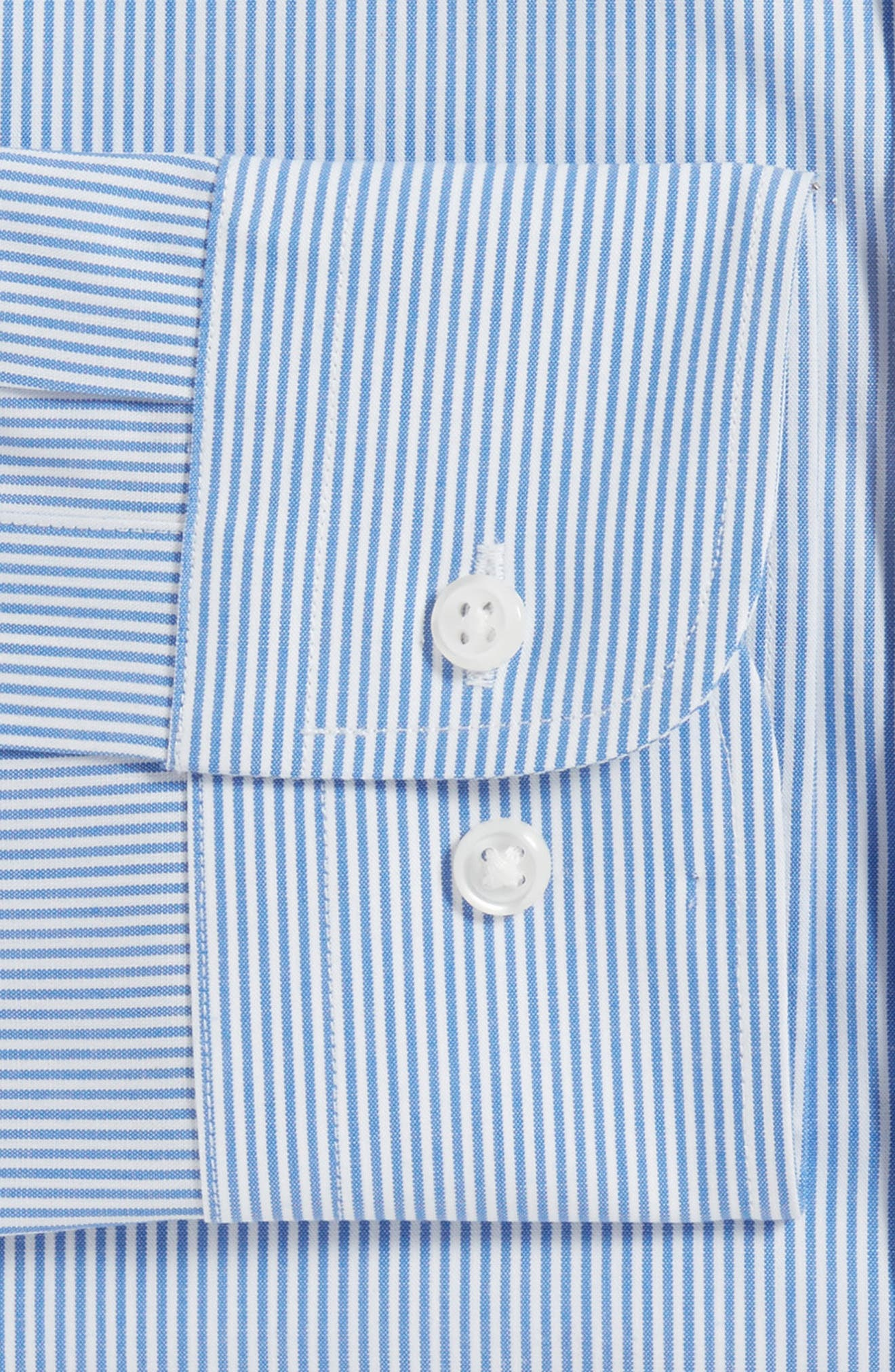 Tech-Smart Trim Fit Stretch Stripe Dress Shirt,                             Alternate thumbnail 4, color,                             420