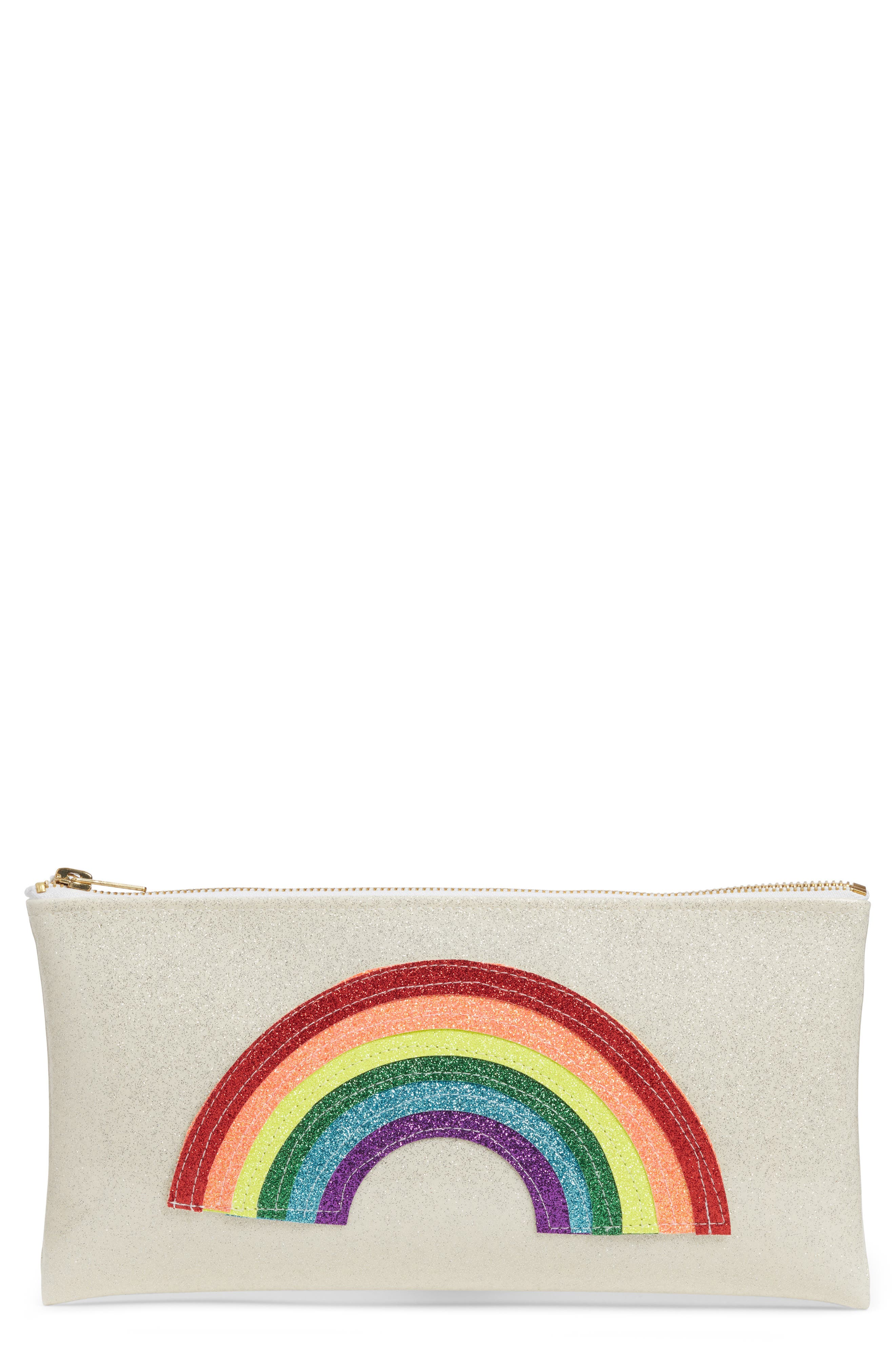 JULIE MOLLO Rainbow Clutch, Main, color, SILVER