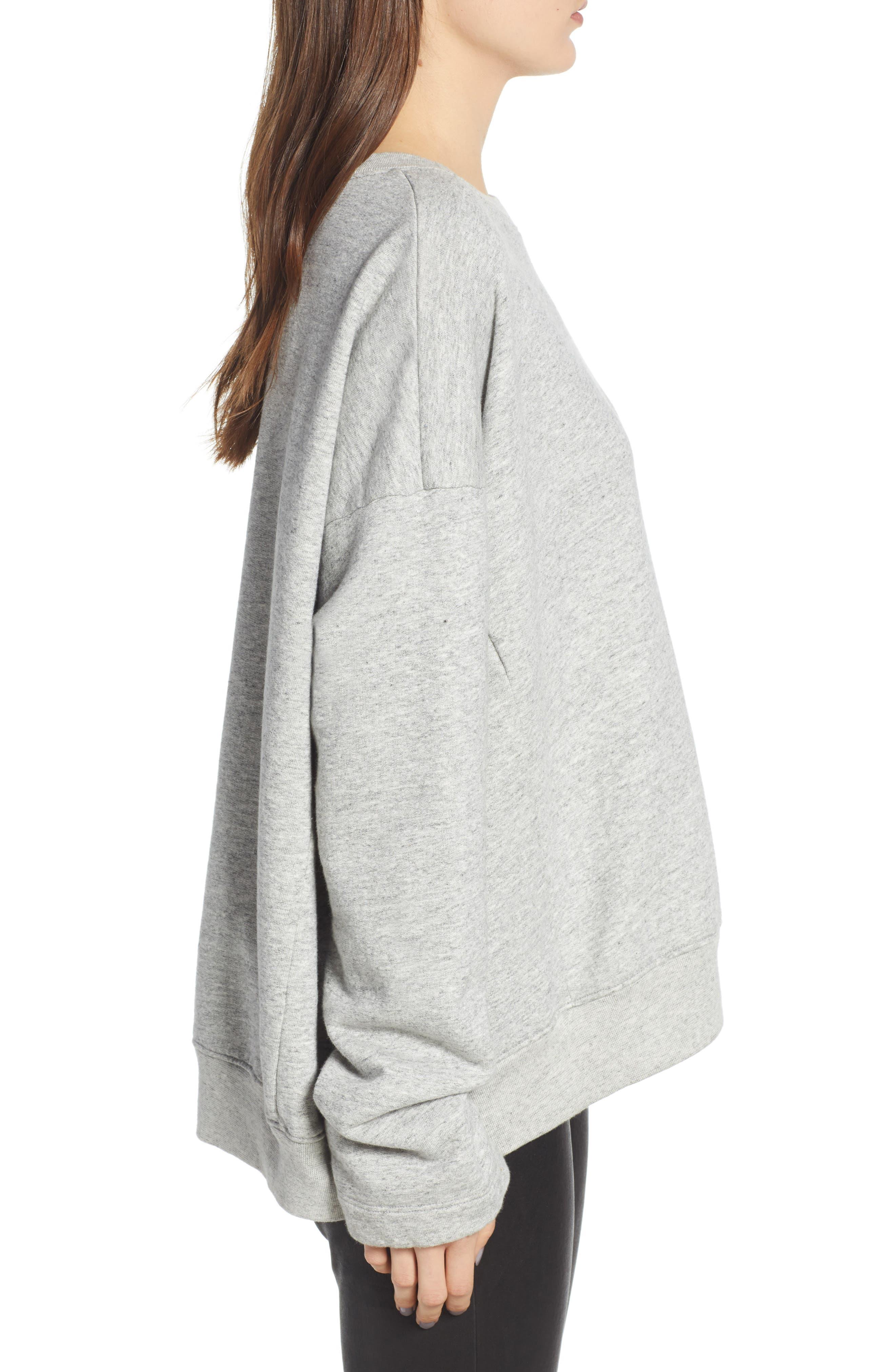 Berdine Oversize Sweatshirt,                             Alternate thumbnail 3, color,                             HEATHER GREY