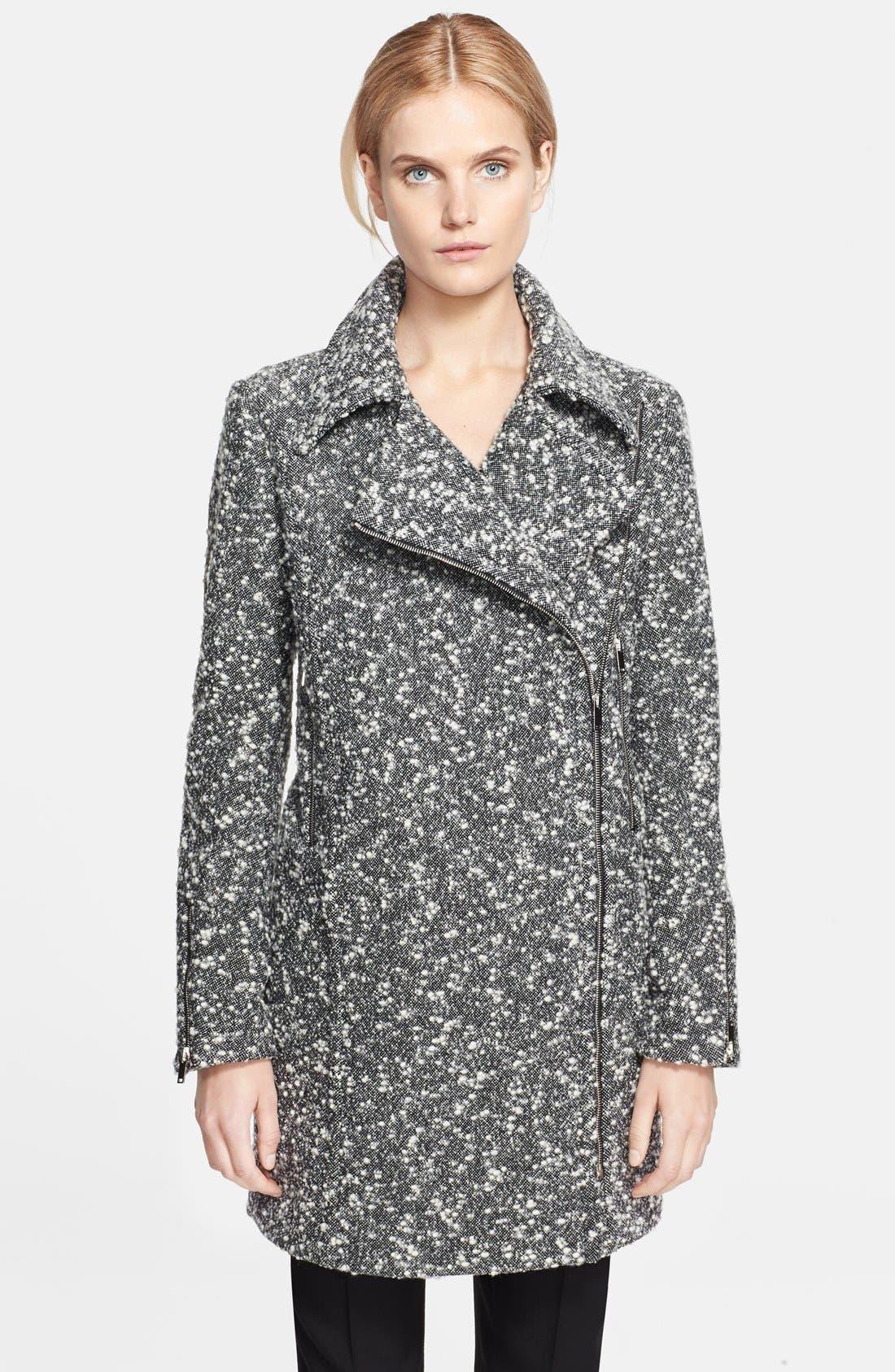 Long Bouclé Coat, Main, color, 001