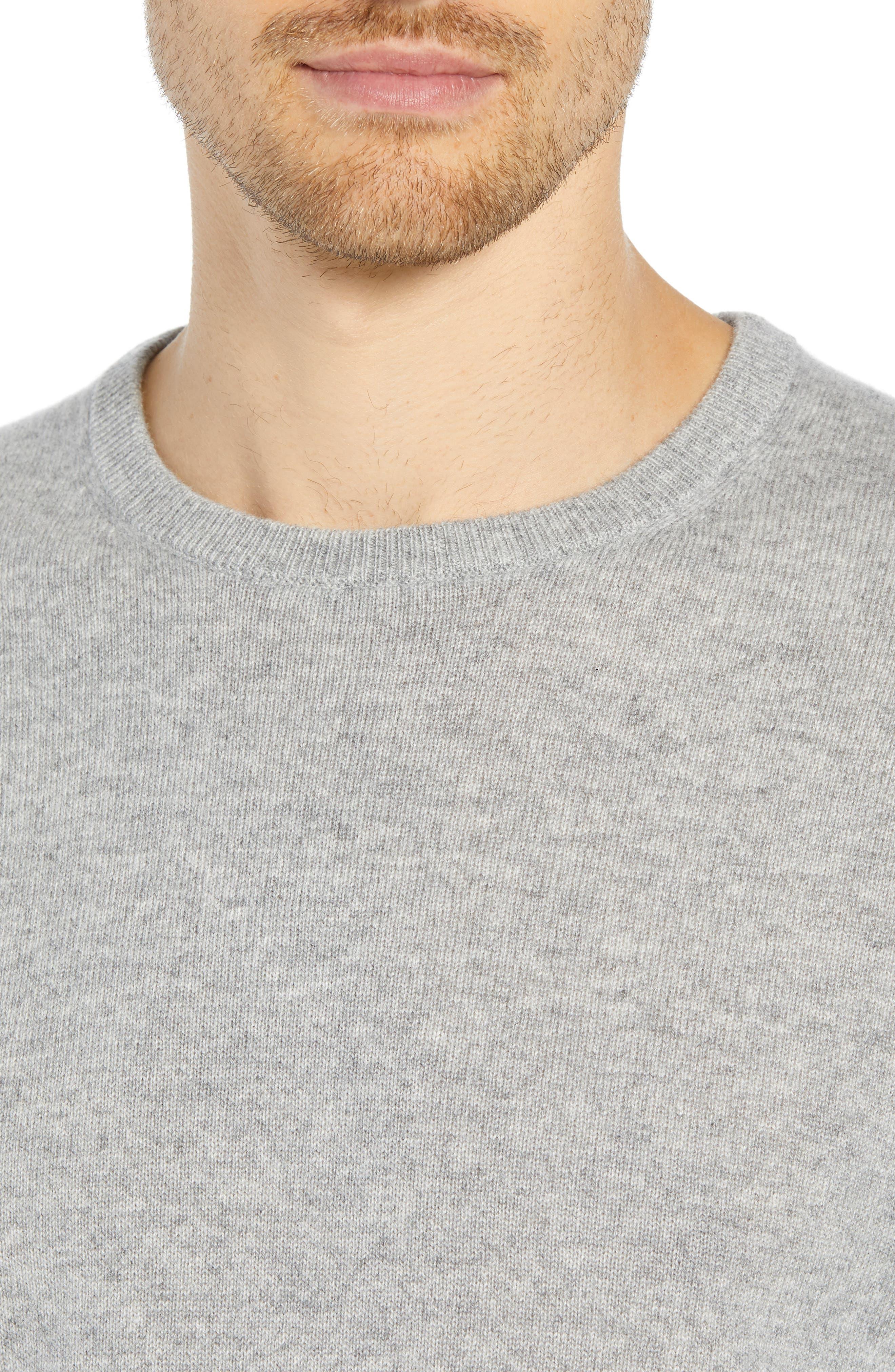 Everyday Cashmere Regular Fit Crewneck Sweater,                             Alternate thumbnail 4, color,                             HEATHER GREY