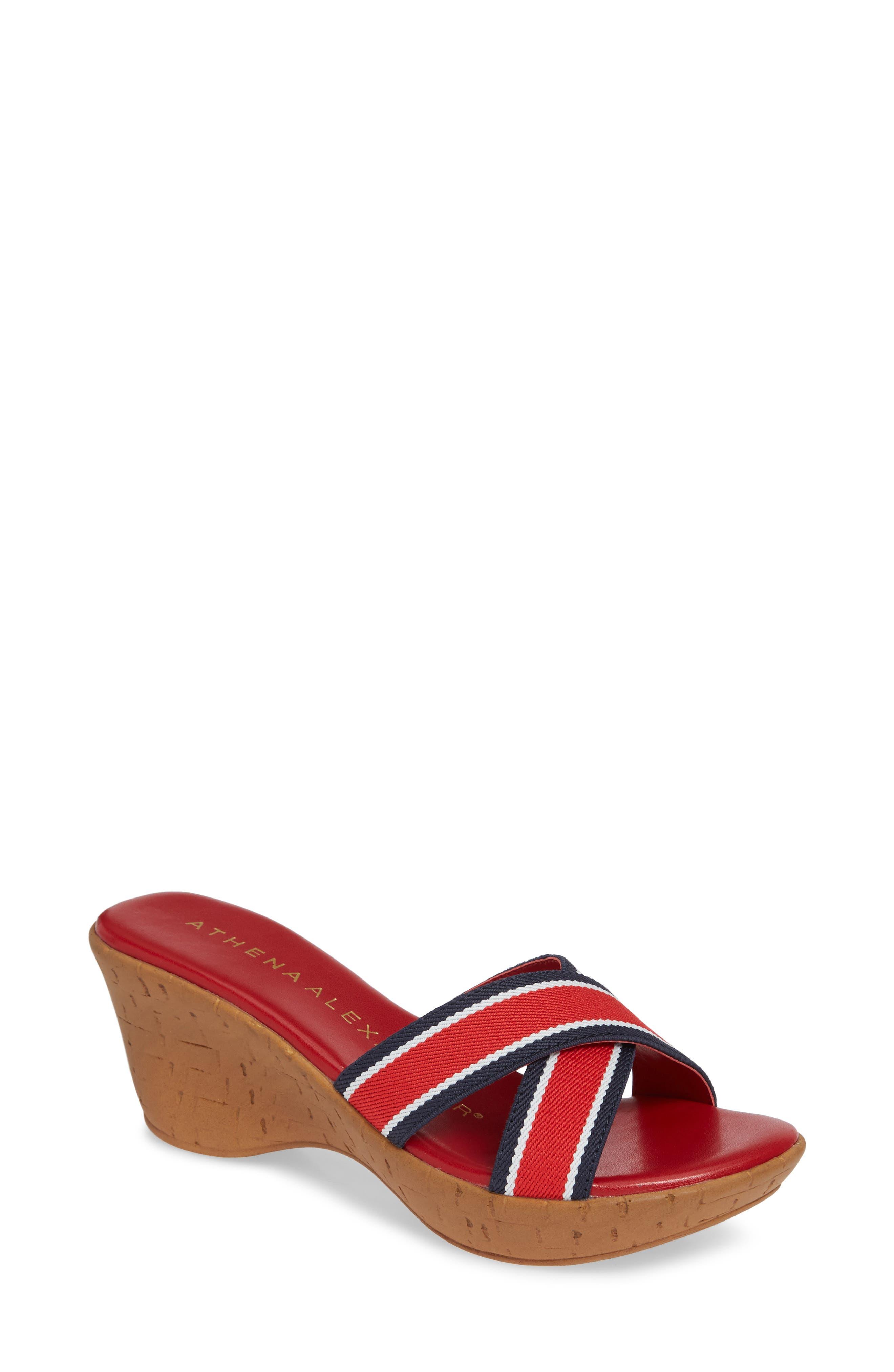 Athena Alexander Seymour Wedge Slide Sandal, Red