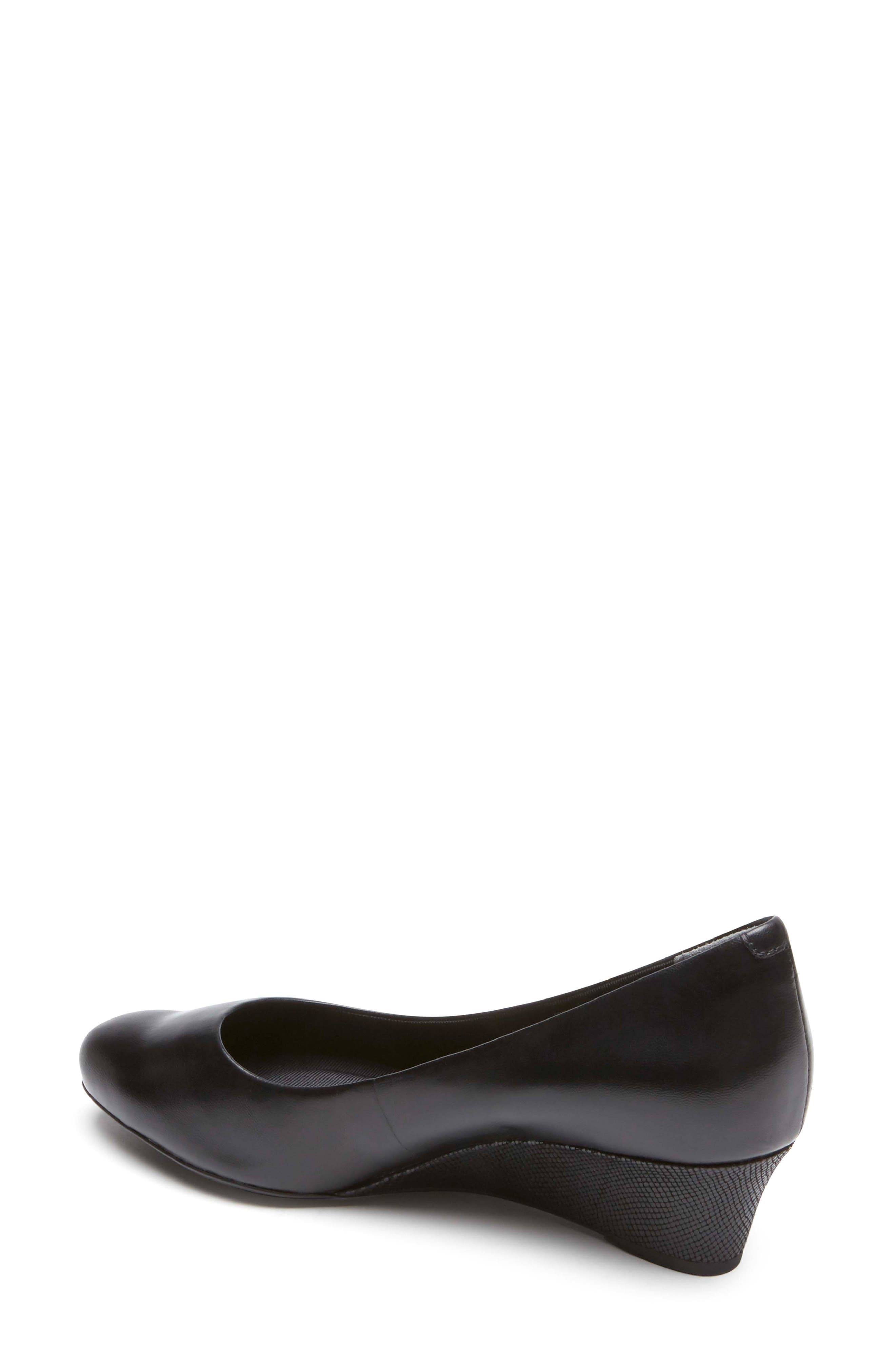Total Motion Catrin Wedge Pump,                             Alternate thumbnail 2, color,                             BLACK LEATHER