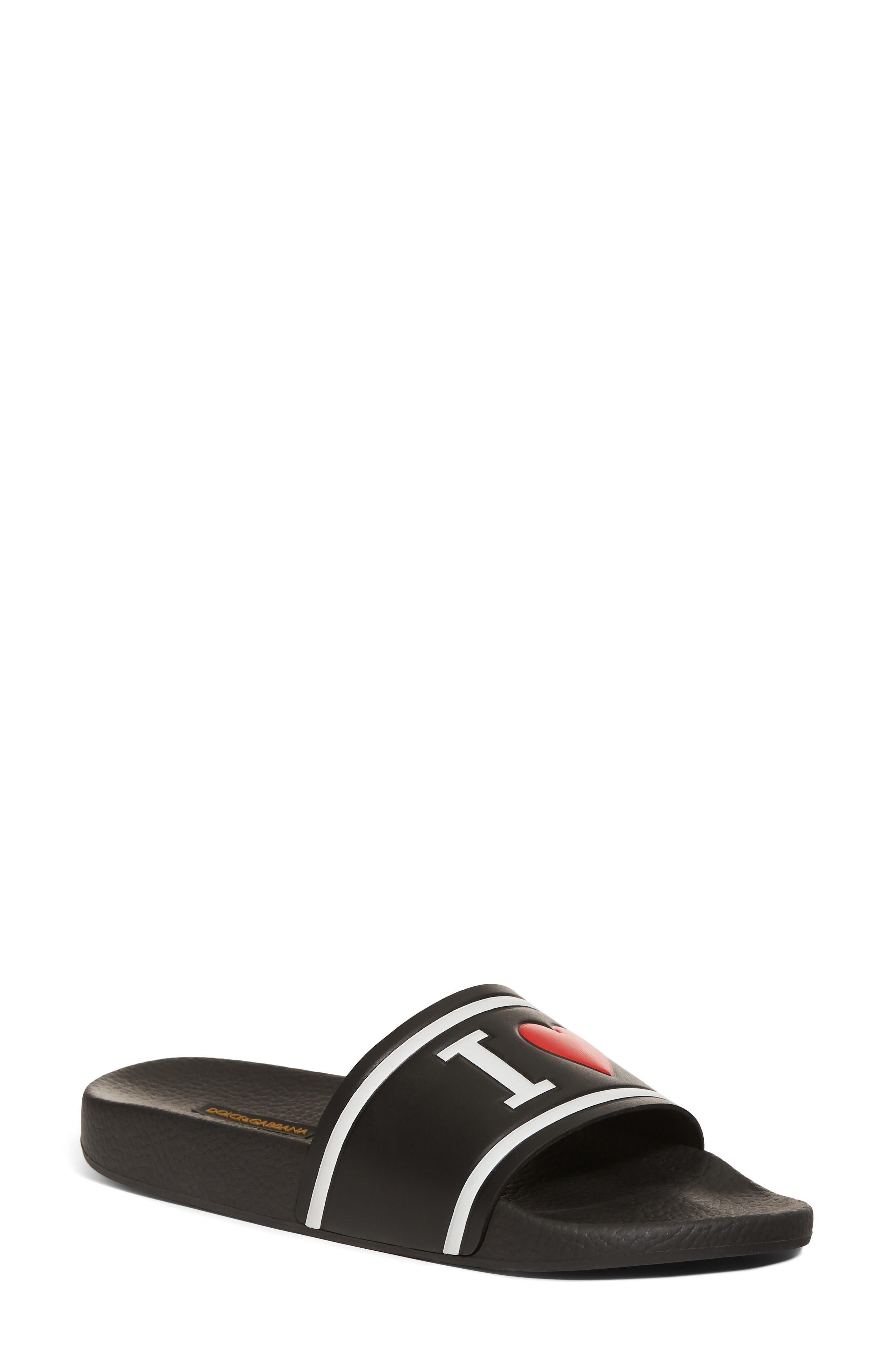 I Love DG Slide Sandal,                             Main thumbnail 1, color,                             BLACK