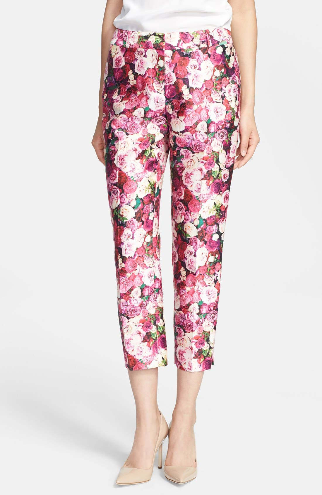 KATE SPADE NEW YORK,                             'jackie' rose print cotton & silk capri pants,                             Main thumbnail 1, color,                             655