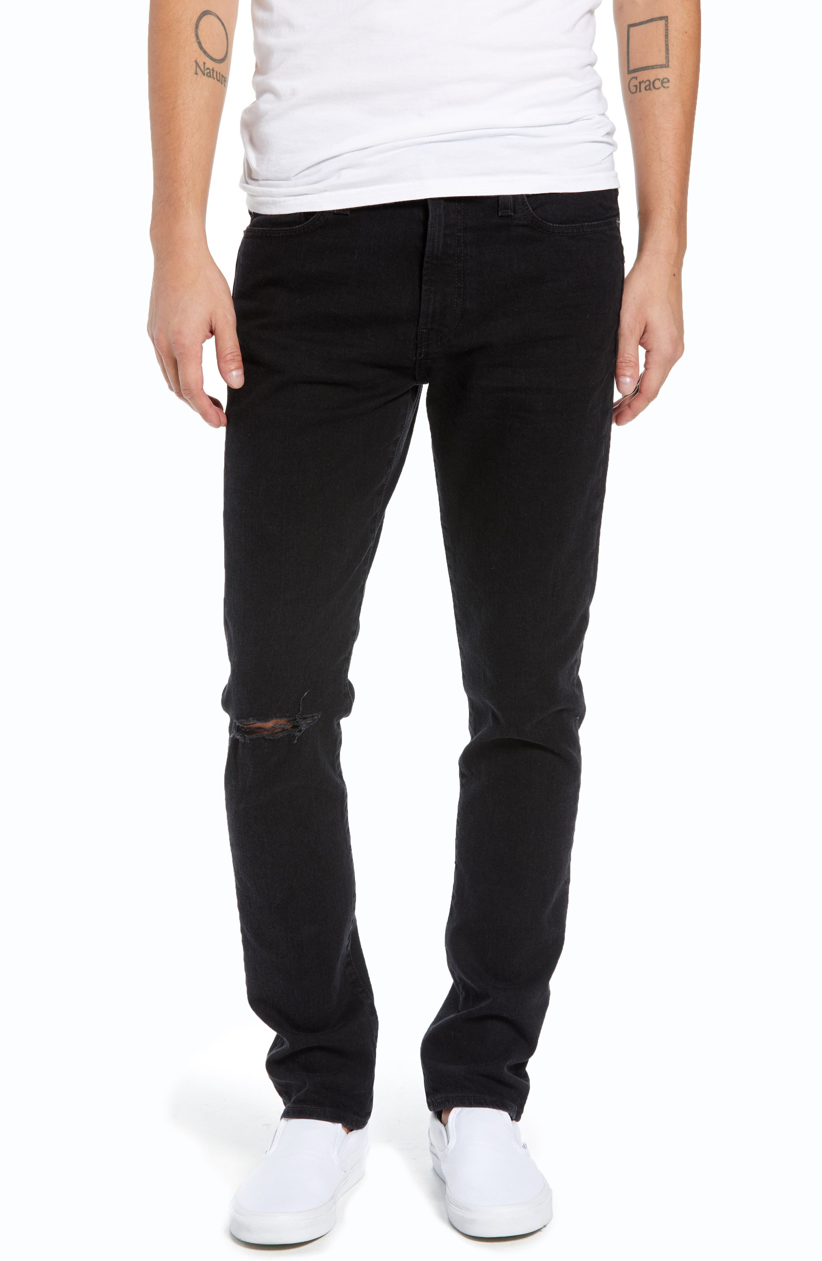 Ripped Skinny Fit Jeans,                         Main,                         color, BROOKLYN WASH