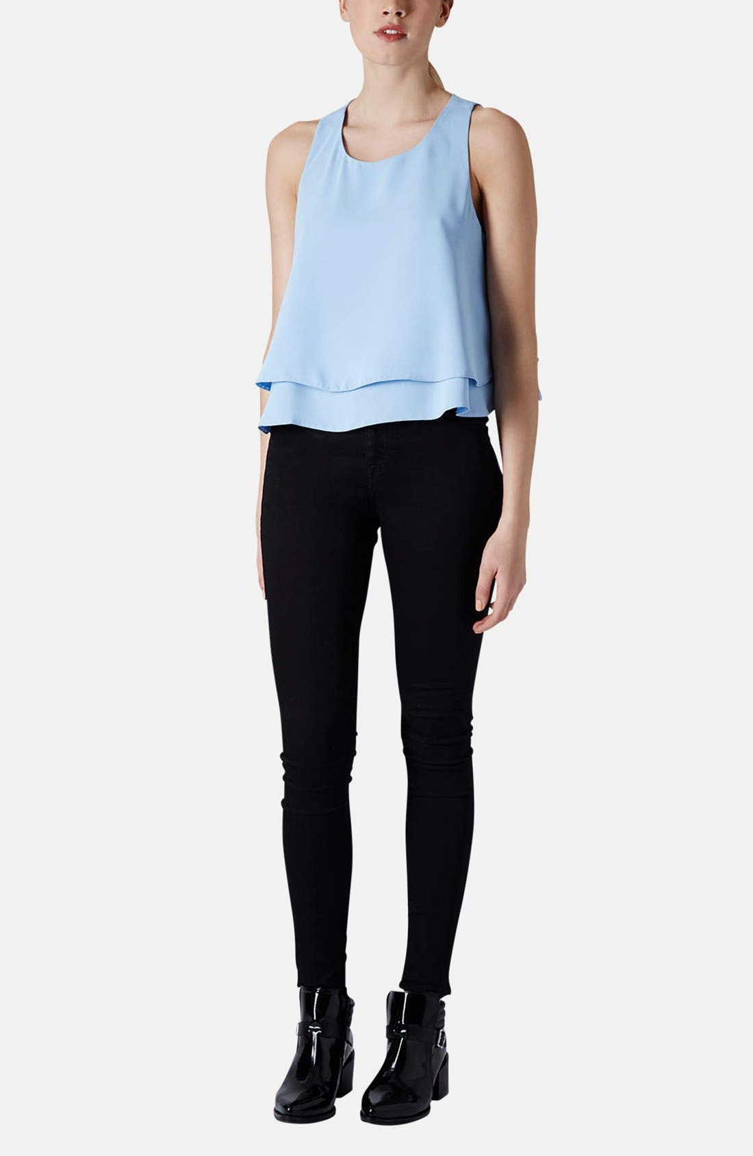 TOPSHOP,                             Layered Trapeze Shell,                             Alternate thumbnail 5, color,                             450