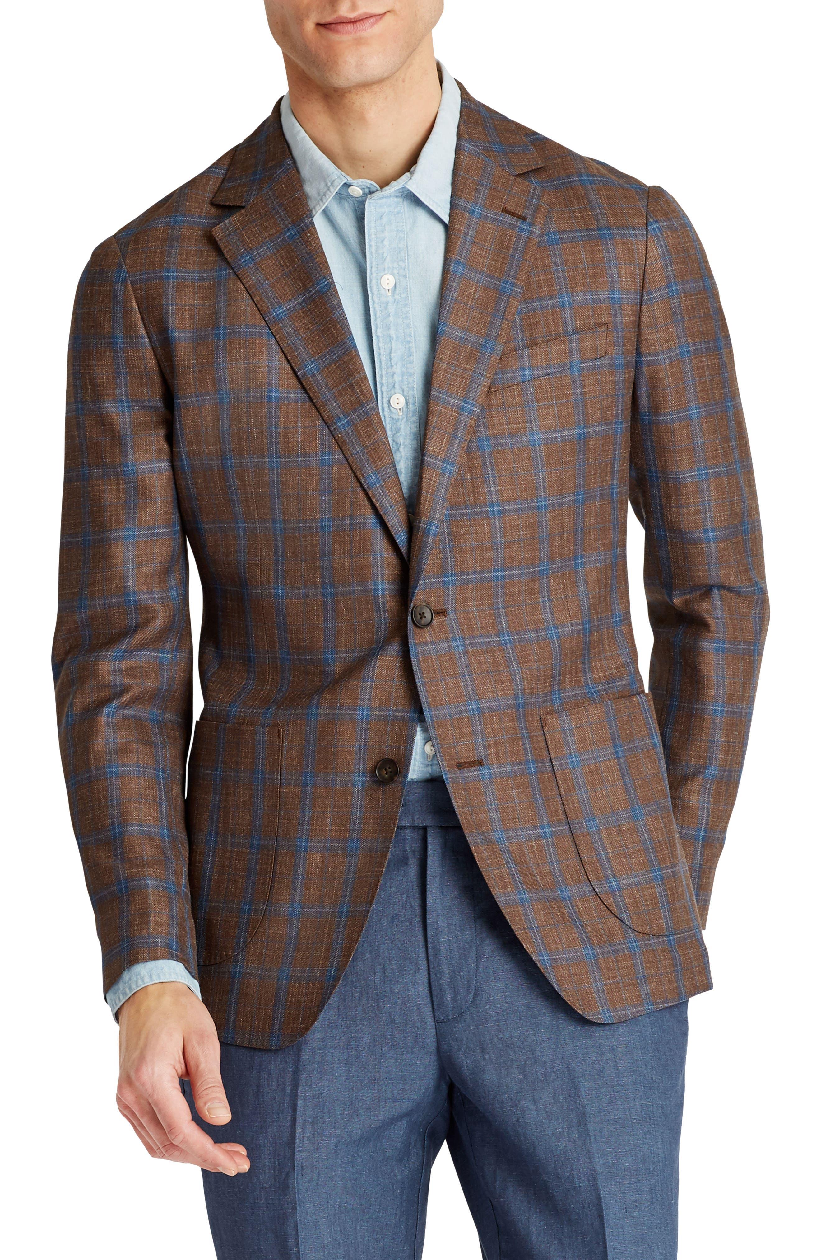 Capstone Slim Fit Plaid Wool Blend Sport Coat,                             Main thumbnail 1, color,                             200
