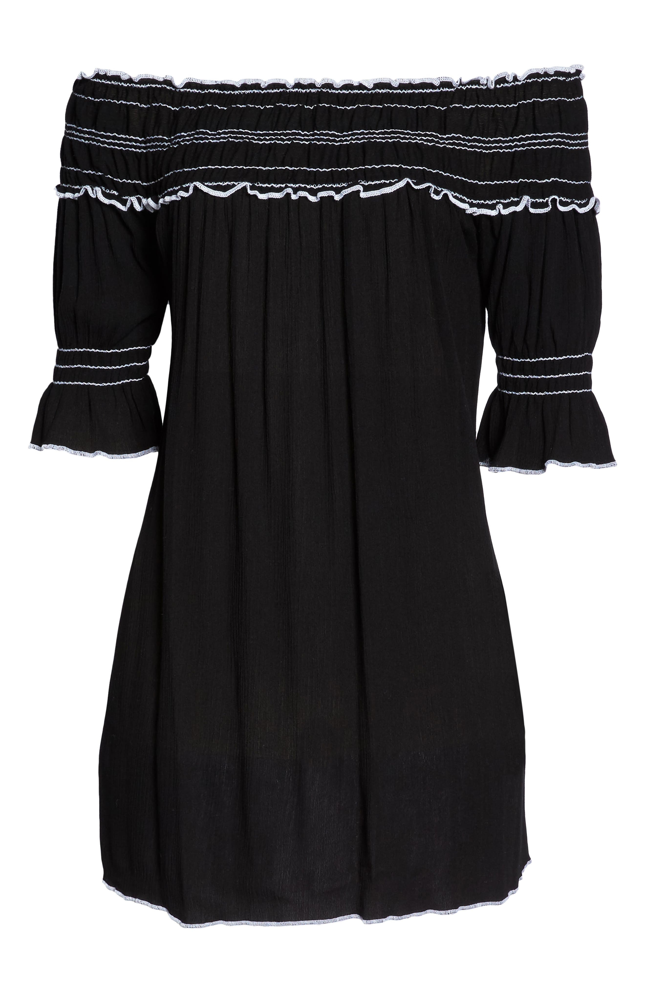 Nightingale Off the Shoulder Cover-Up Dress,                             Alternate thumbnail 6, color,                             001