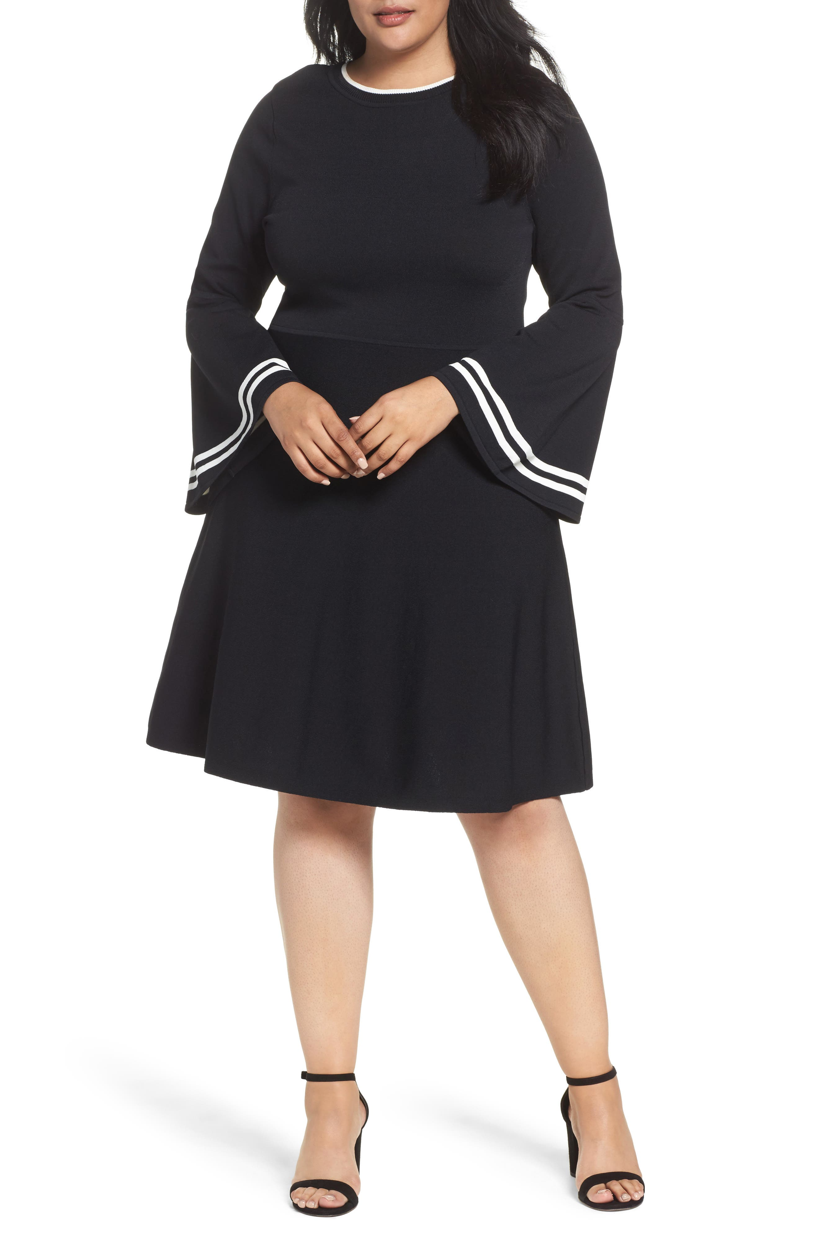 Bell Sleeve Fit & Flare Dress,                             Main thumbnail 1, color,                             006