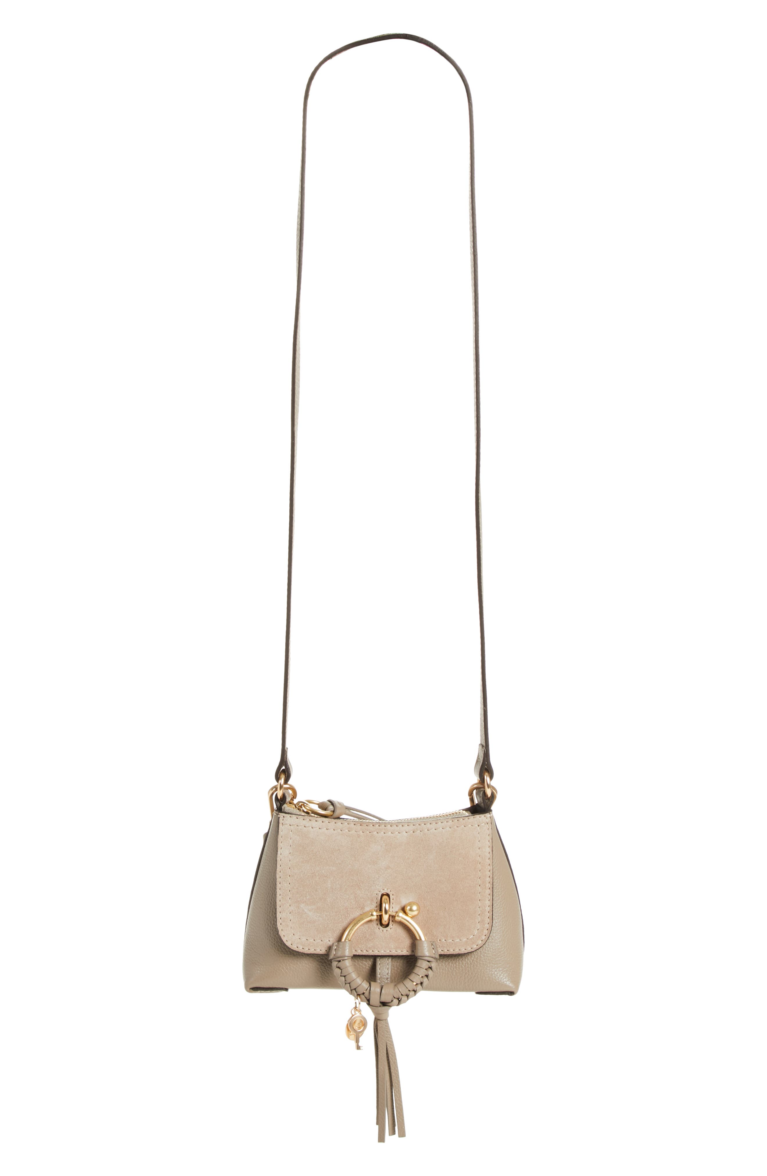 See By Chloe Mini Joan Leather Crossbody Bag - Grey