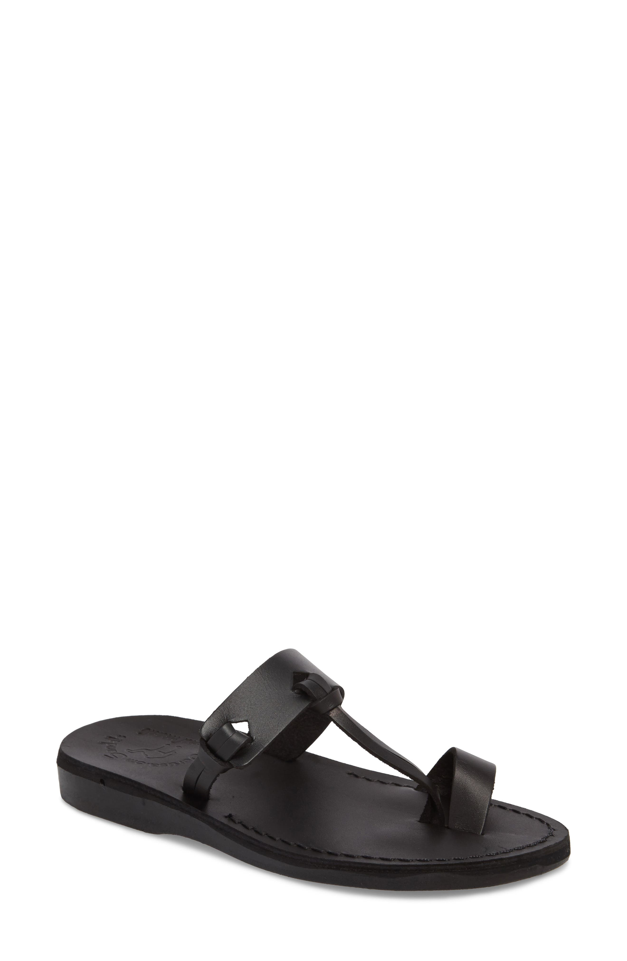 JERUSALEM SANDALS David Toe-Loop Sandal, Main, color, BLACK LEATHER