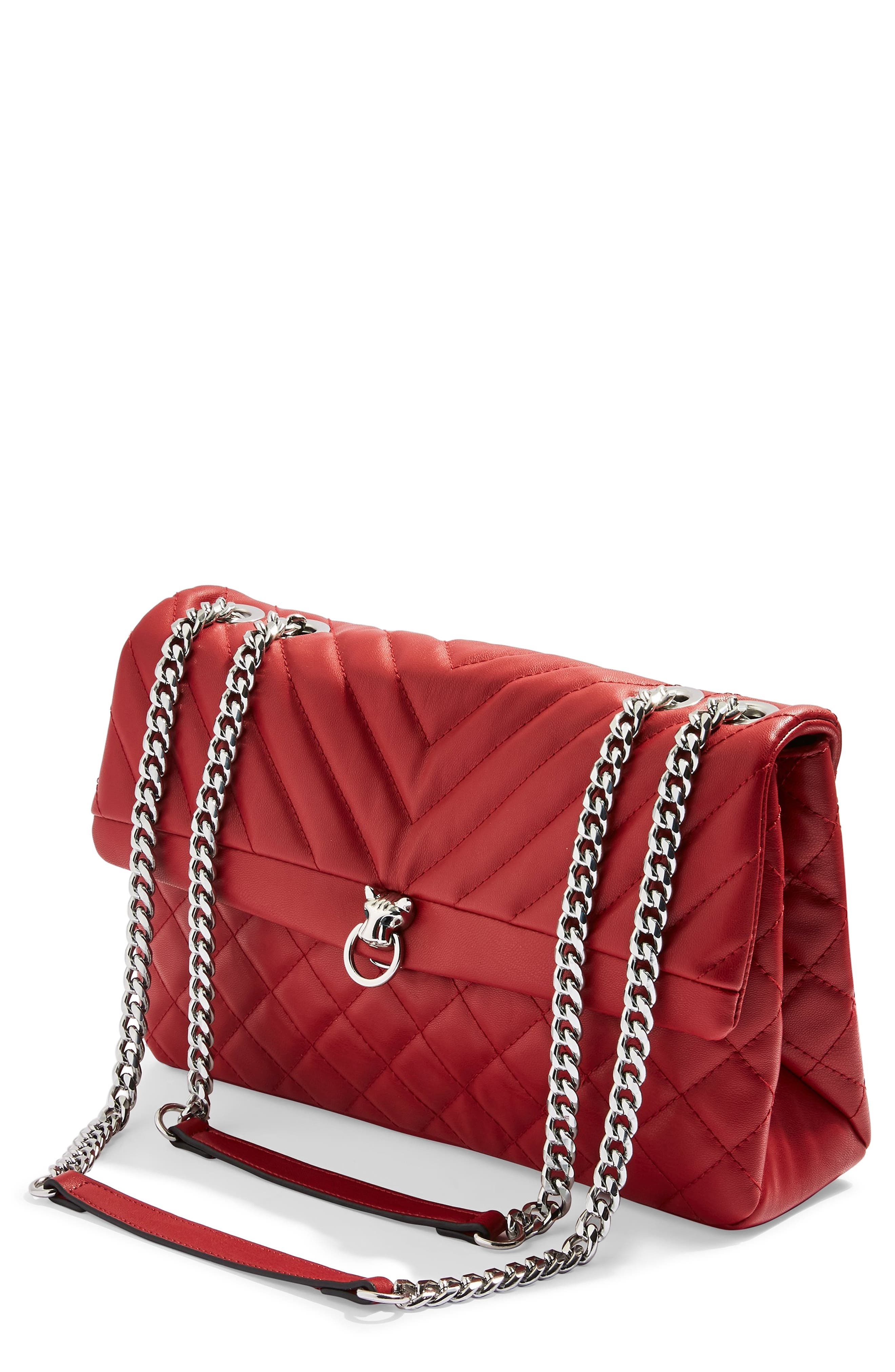Panther Quilted Faux Leather Shoulder Bag,                         Main,                         color, RED MULTI
