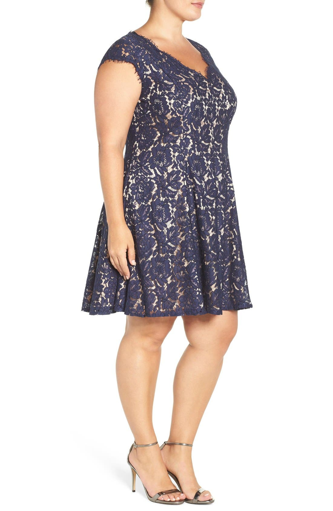 Lace Fit & Flare Dress,                             Alternate thumbnail 3, color,                             410