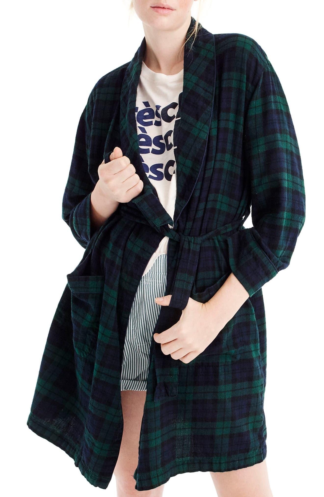 Blackwatch Flannel Short Robe,                             Main thumbnail 1, color,                             001