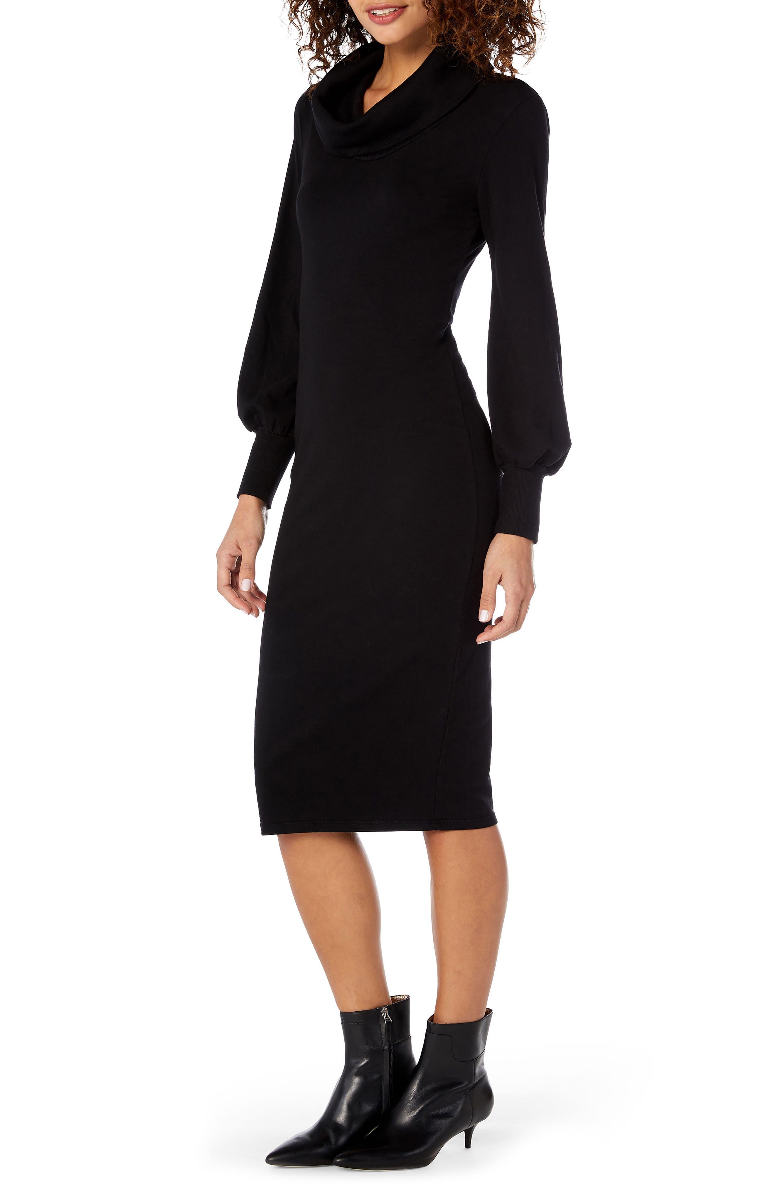 Cowl Neck Body-Con Dress,                             Alternate thumbnail 3, color,                             001
