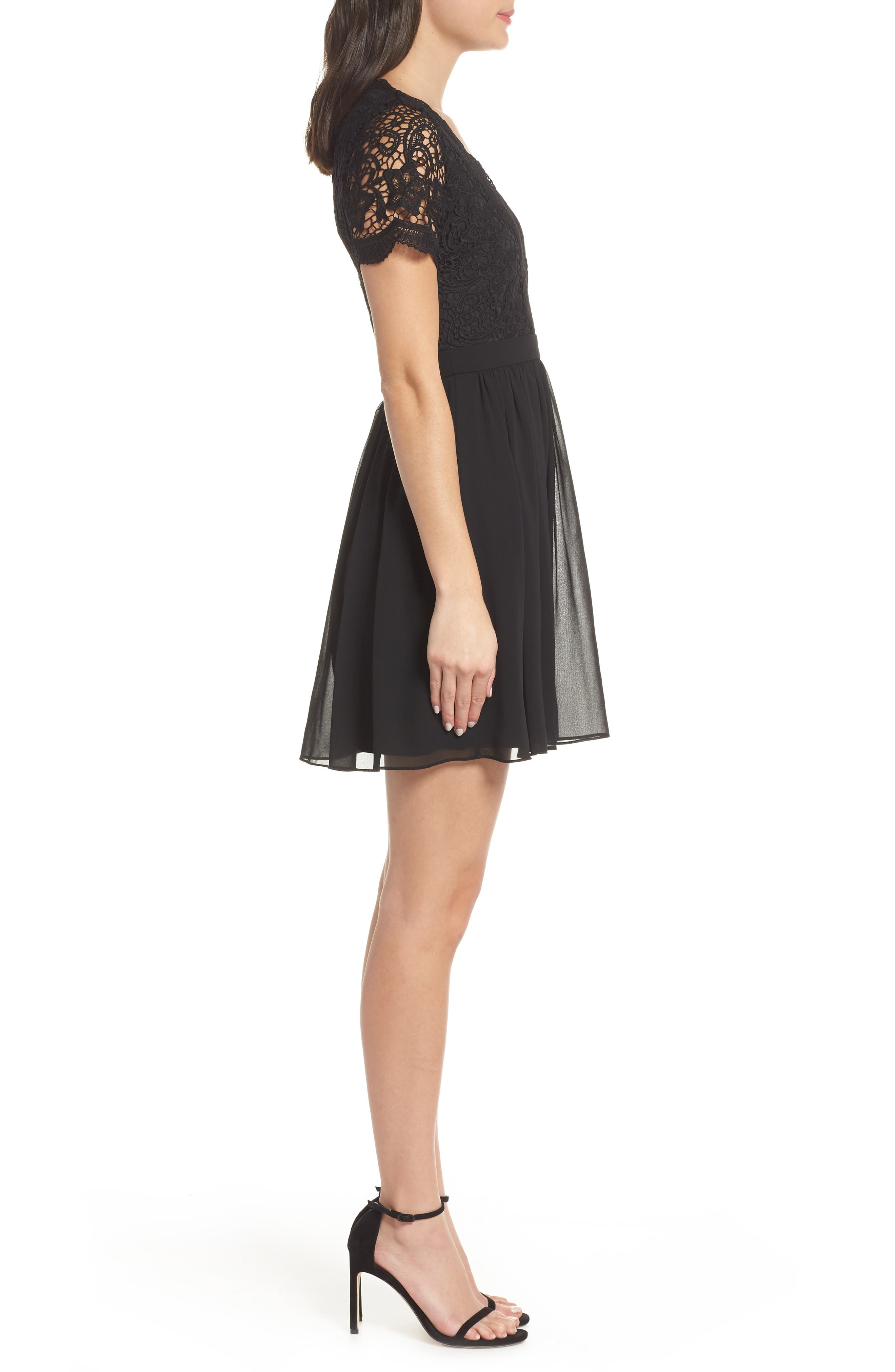 Angel in Disguise Lace & Chiffon Party Dress,                             Alternate thumbnail 3, color,                             BLACK