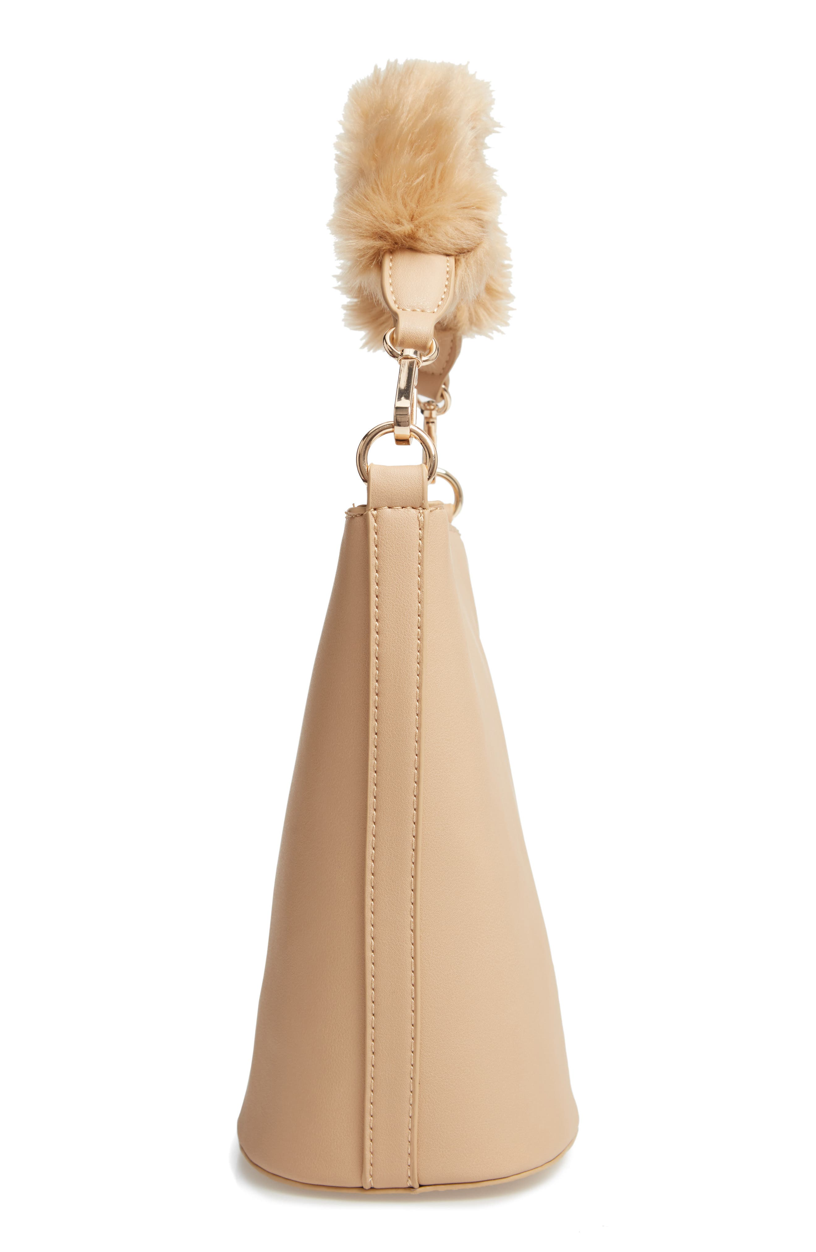 Faux Fur Handle Medium Crossbody Bag,                             Alternate thumbnail 6, color,                             TAN