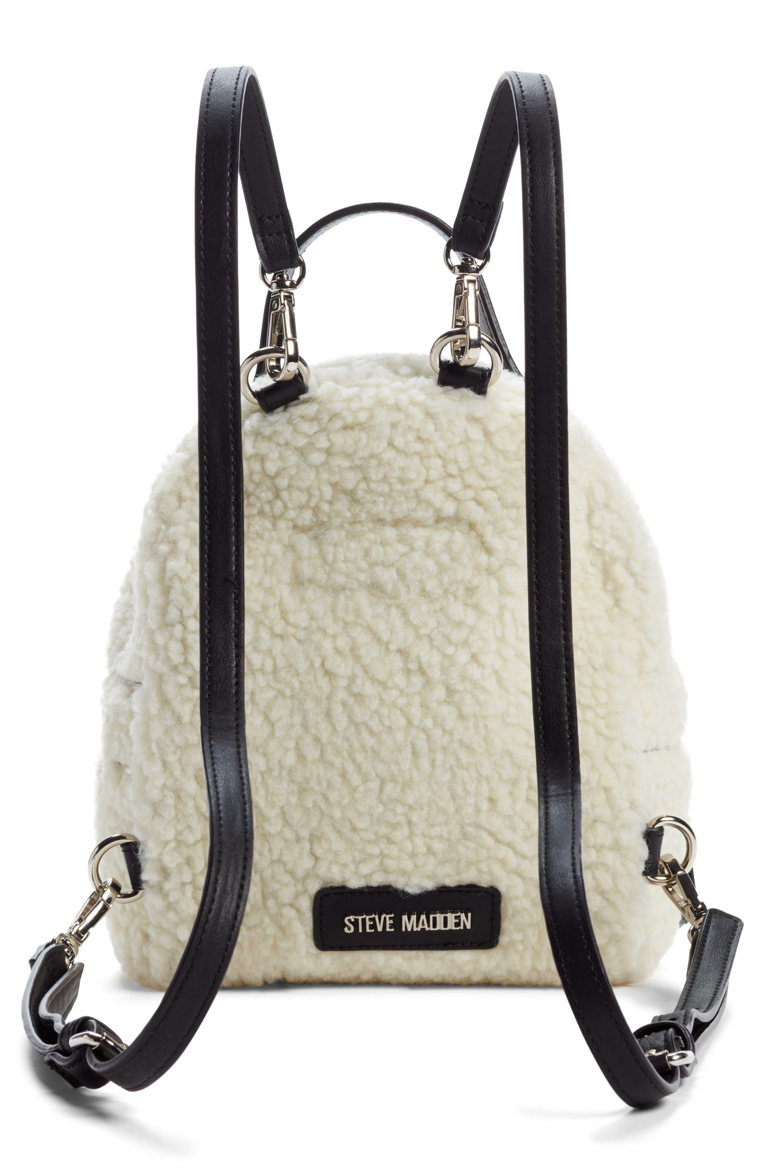 Mini Faux Fur Convertible Backpack,                             Alternate thumbnail 3, color,                             NATURAL