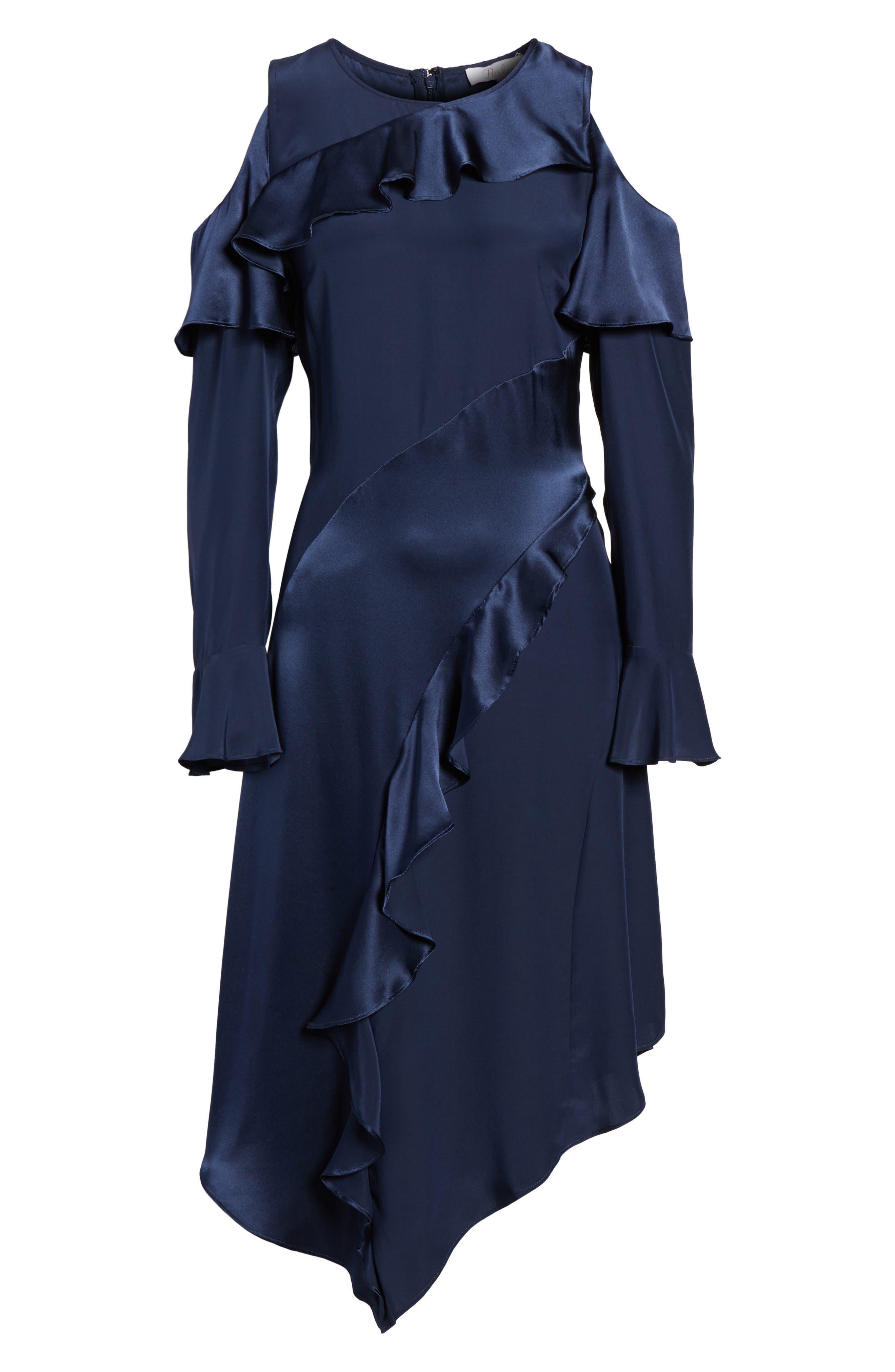 Nadeen Ruffle Cold Shoulder A-Line Dress,                             Alternate thumbnail 6, color,                             004
