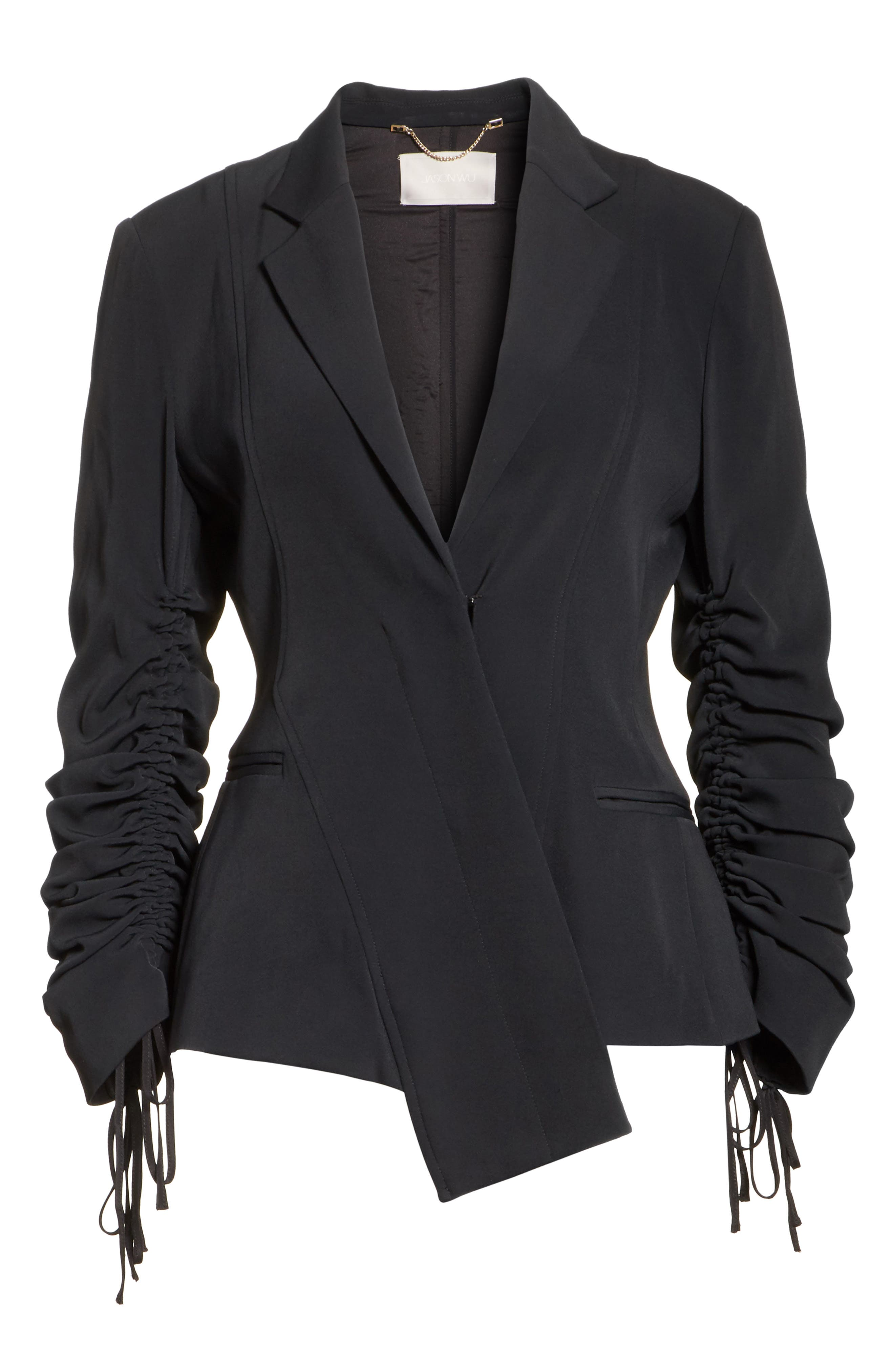 Twill Ruched Sleeve Blazer,                             Alternate thumbnail 5, color,                             001